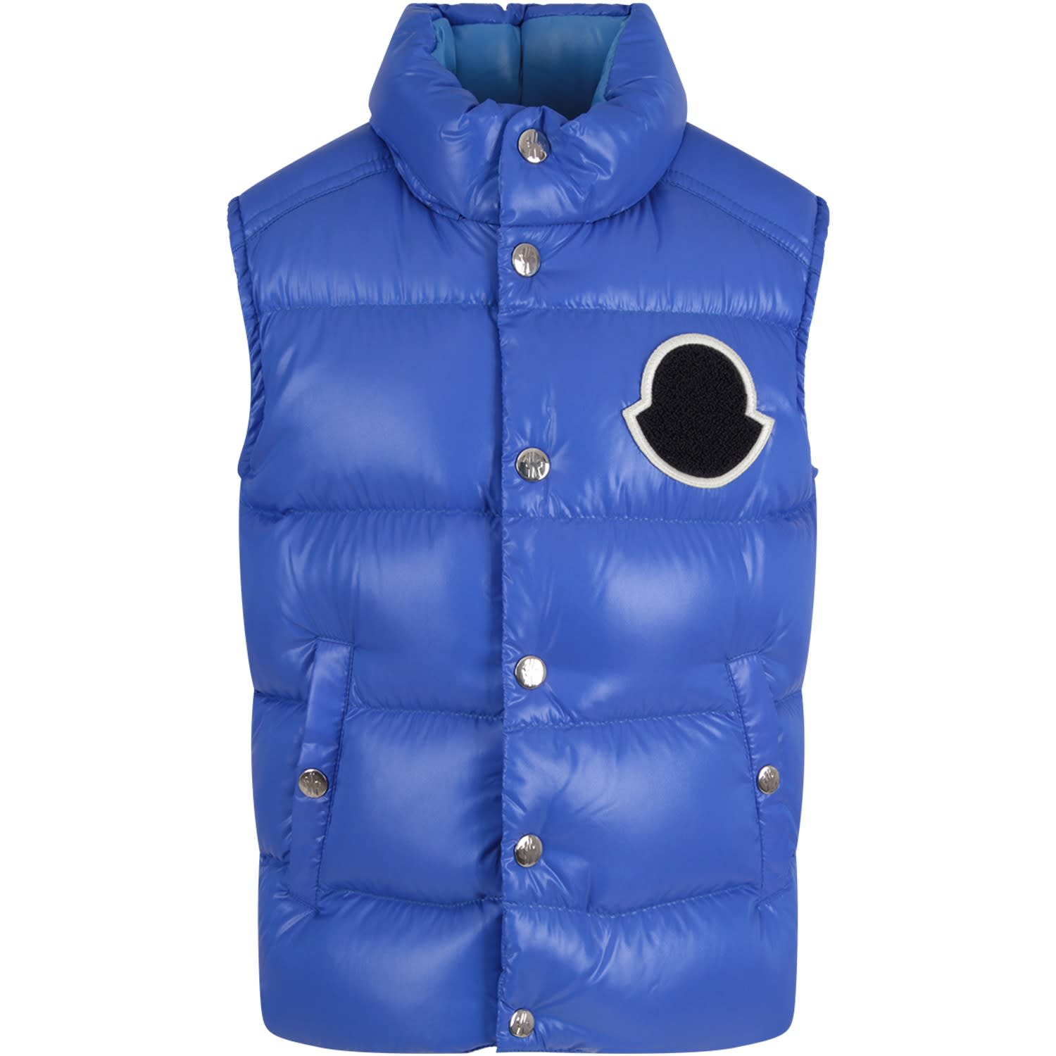 Moncler Kids' Azure Boy Vest Wih Iconic Patch In Light Blue