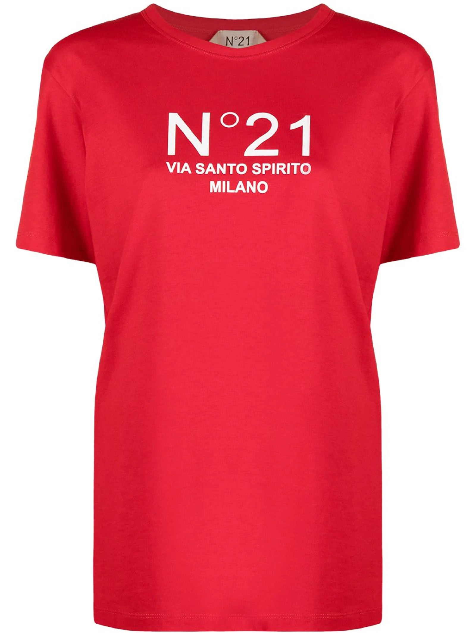 N°21 Tops RED COTTON T-SHIRT