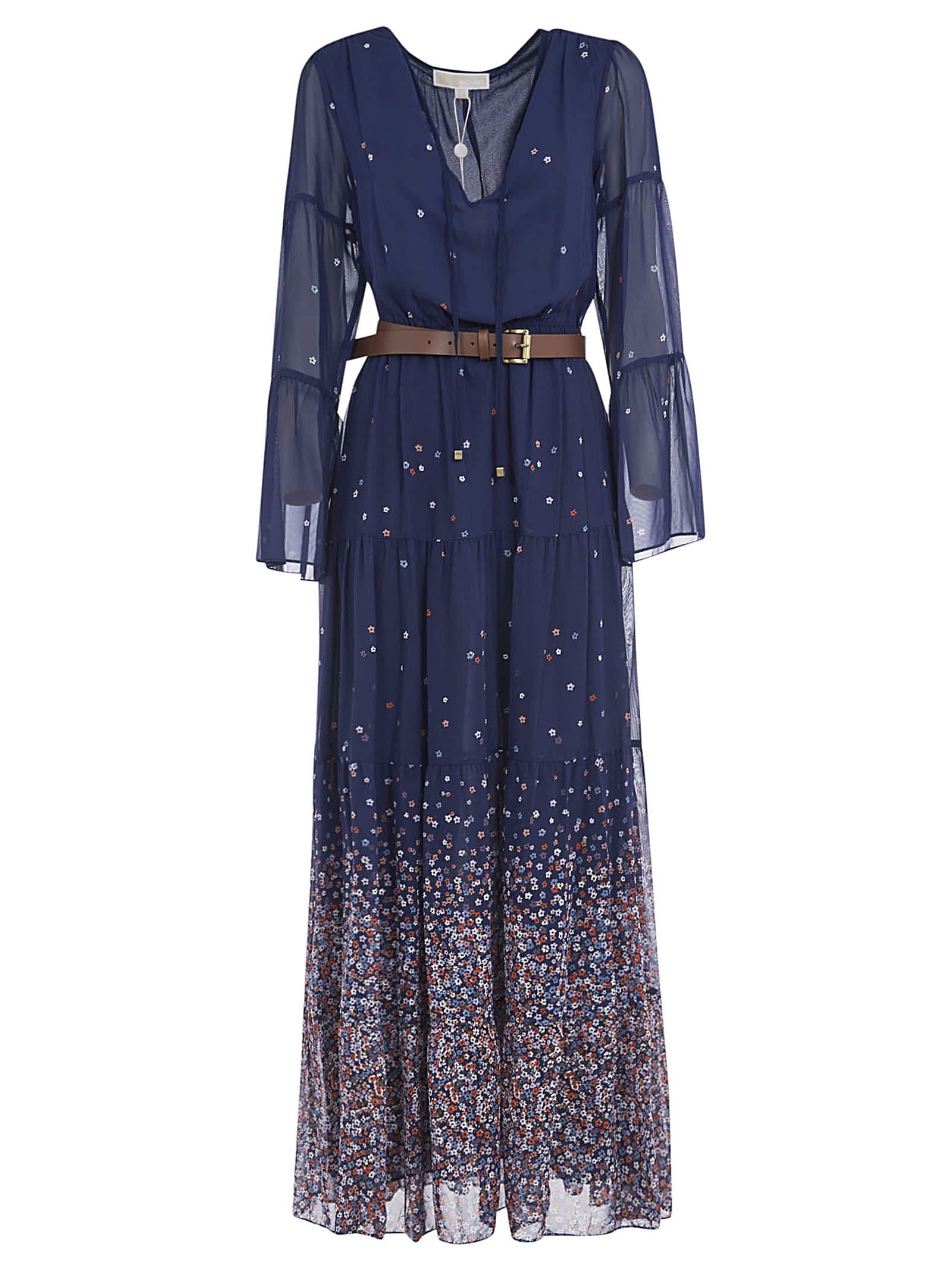 Buy Michael Kors Belted Long Floral Print Dress online, shop Michael Kors with free shipping