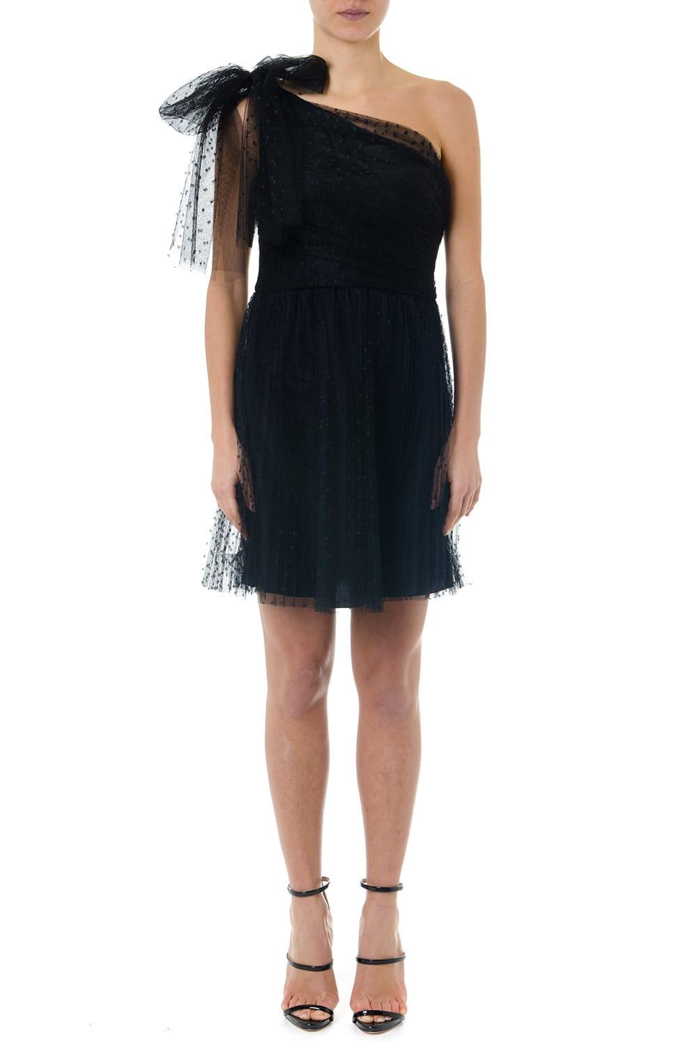 RED Valentino Black One Shoulder Polka Dots Short Dress