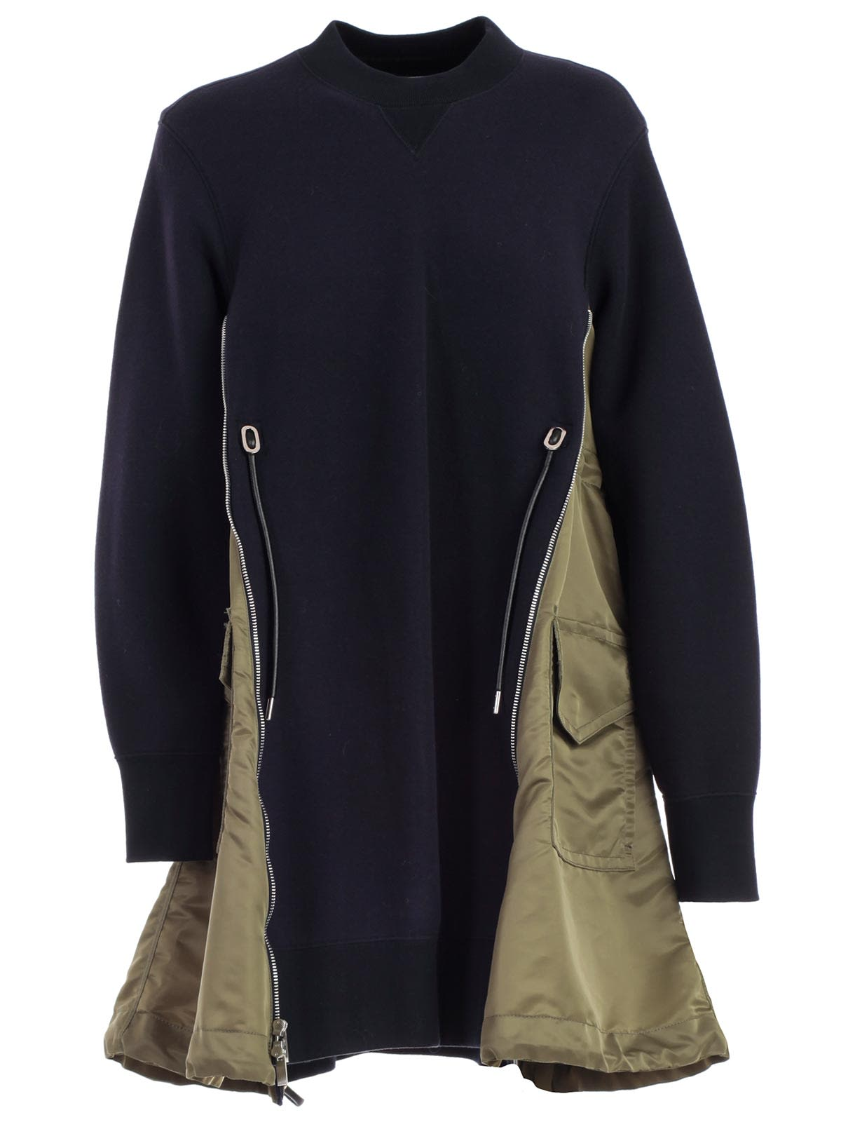 Sacai Dress L & s Crew Neck W & side Zip