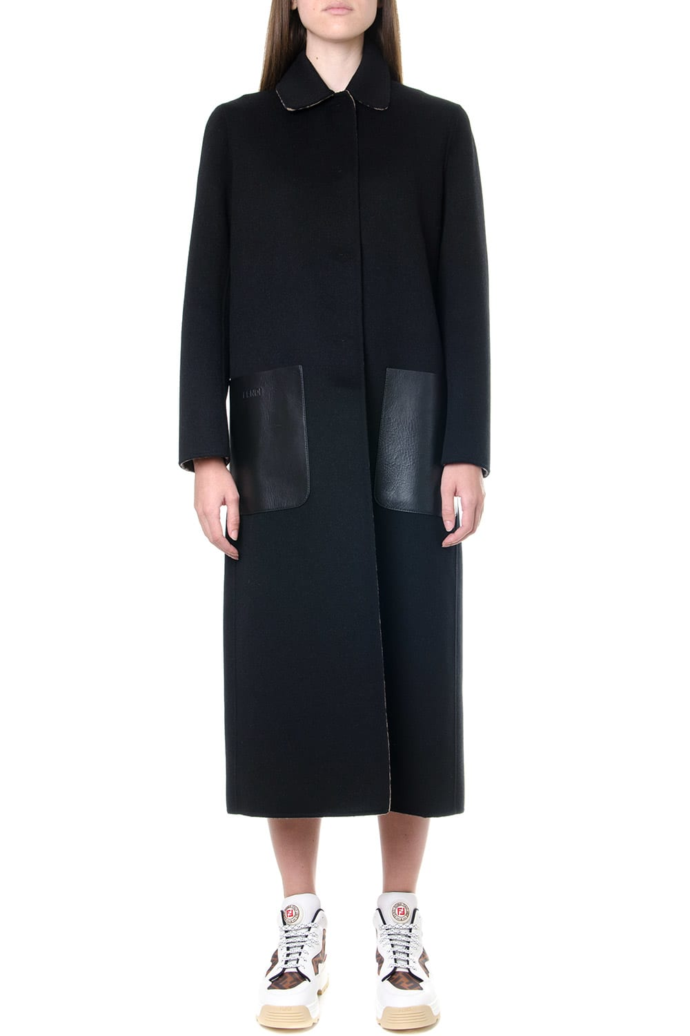 Fendi Black Wool Reversible Coat With Monogram Inner