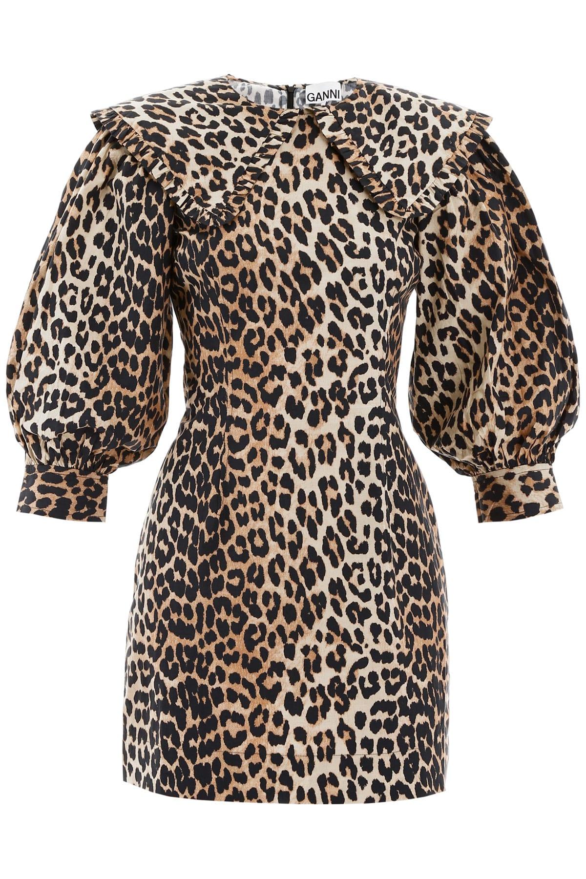 Buy Ganni Animal Print Mini Dress online, shop Ganni with free shipping