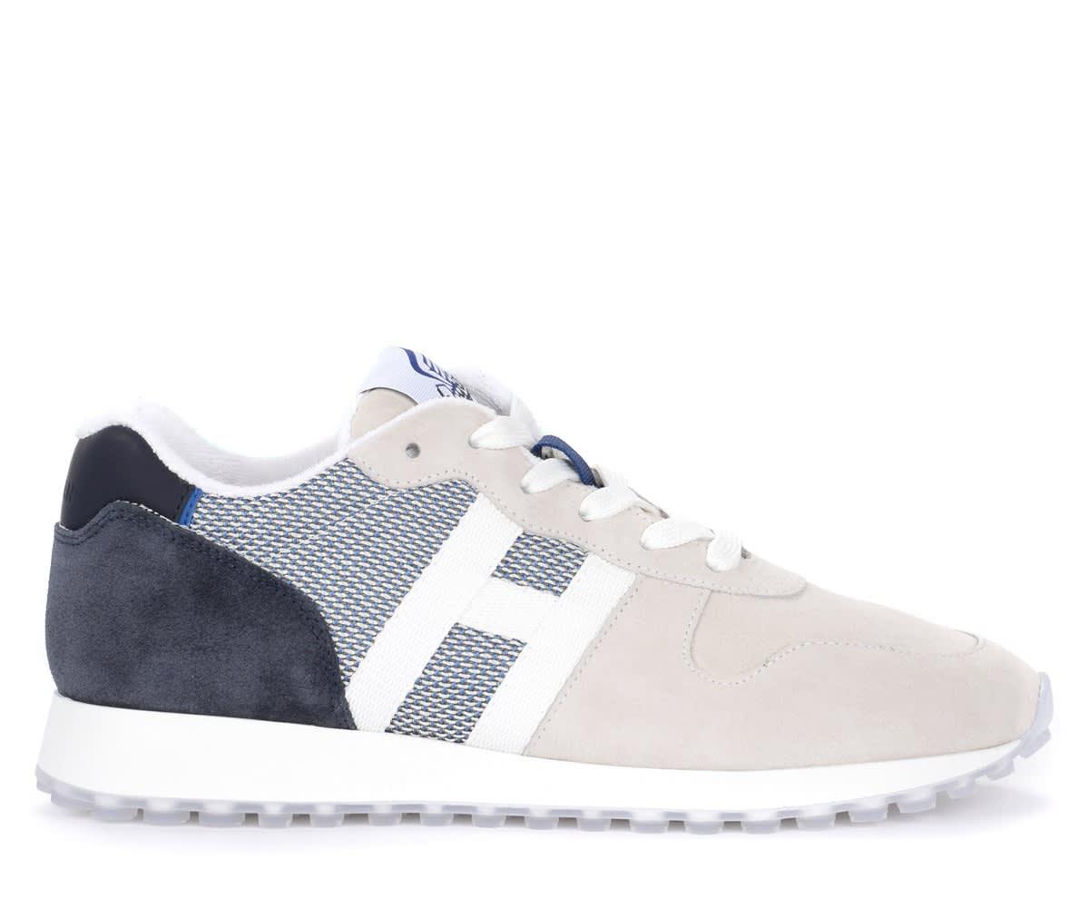 Hogan Sneaker H383 In Suede E Mesh Sabbia E Blu In Grigio | ModeSens
