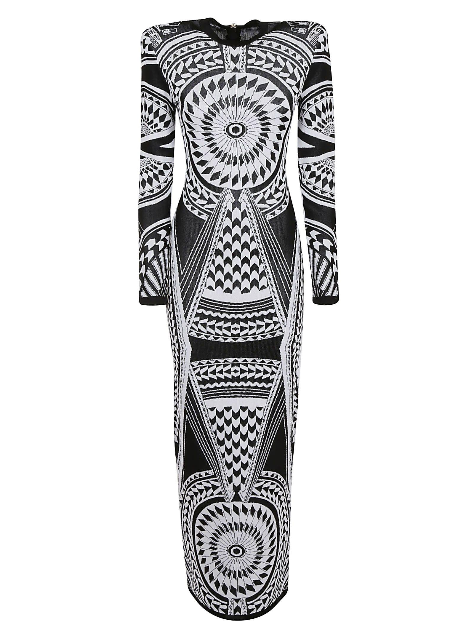 Buy Balmain Long Fluid Jacquard Dress online, shop Balmain with free shipping