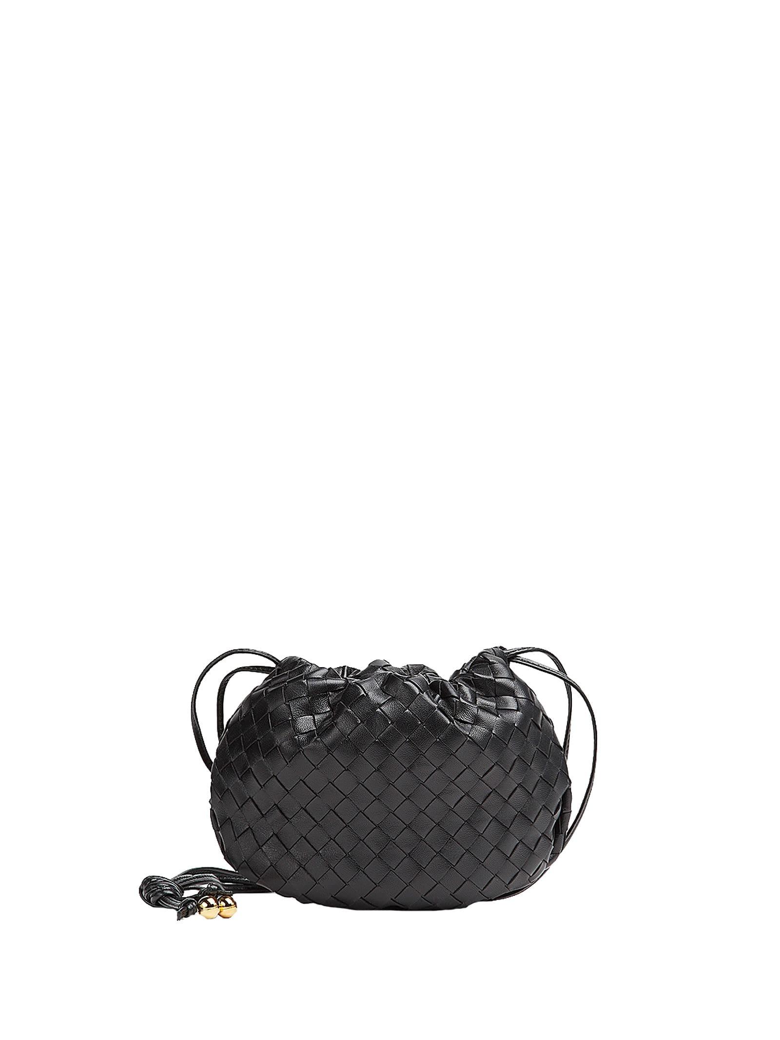 Bottega Veneta Mini Bulb Crossbody Bag In Black Gold