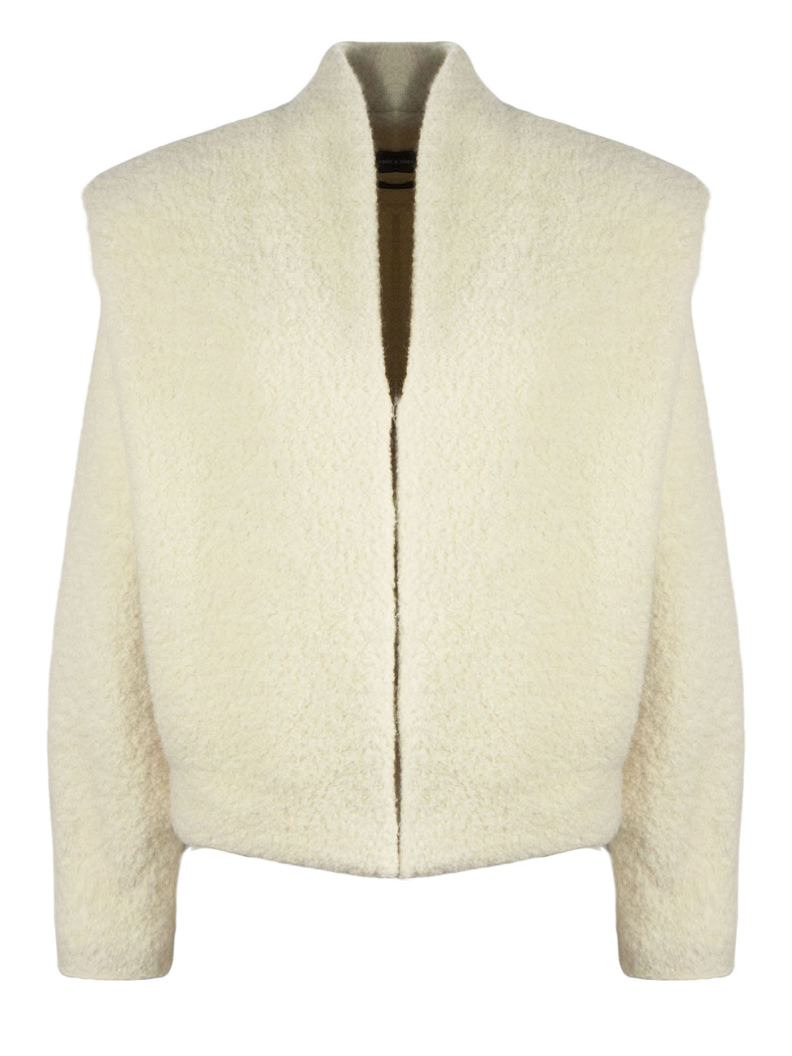 Isabel Marant White Alpaca-virgin Wool Blend Jacket In Panna