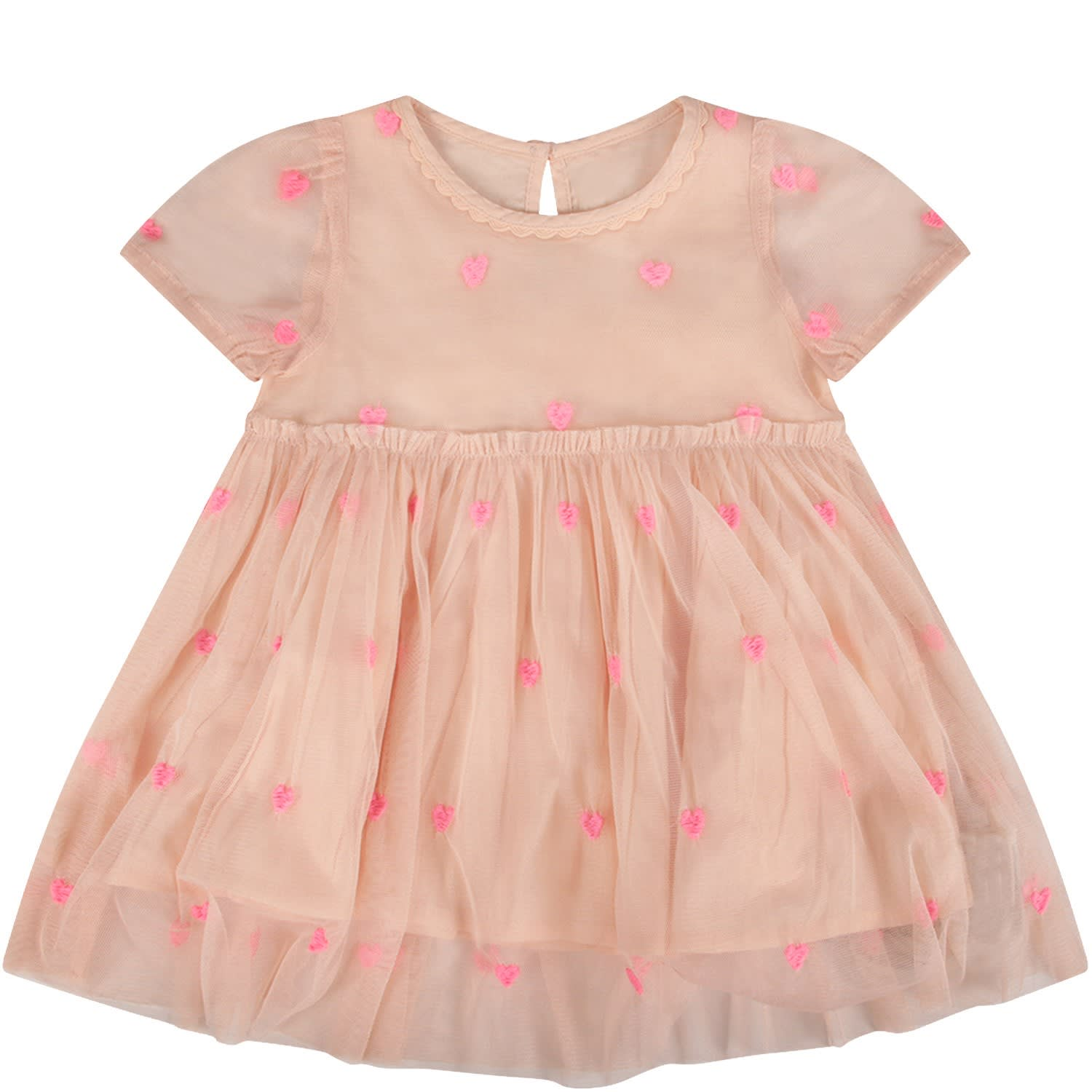 Buy Pink Babygirl Dress With Hearts online, shop Stella McCartney Kids with free shipping