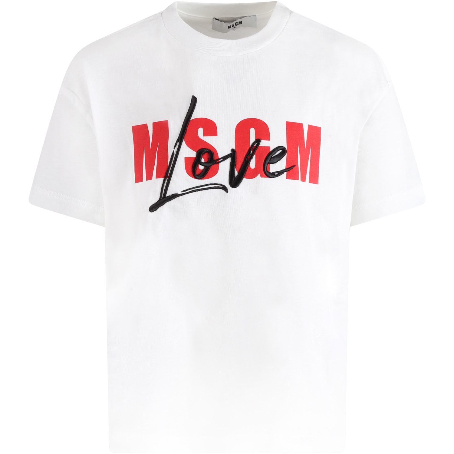 MSGM WHITE T-SHIRT FOR GIRL WITH RED LOGO