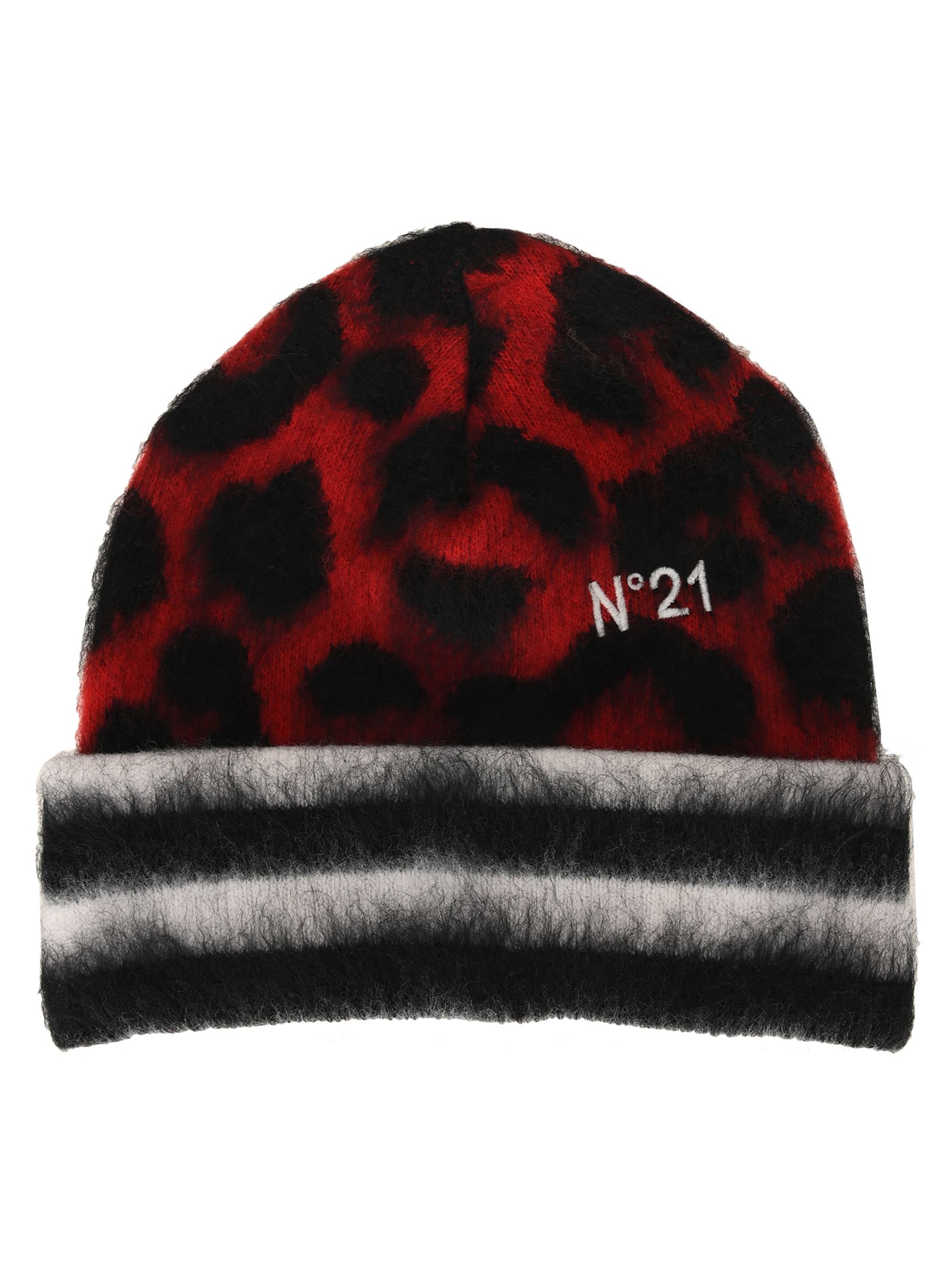 Red, Black And White, Wool And Mohair Blend Leopard-print Beanie By N°21. Featuring: - Striped Turn-up Hem; - Leopard Print; - Embroidered Logo. Composition: 56% WOOL, 24% MOHAIR, 20% POLYAMIDE