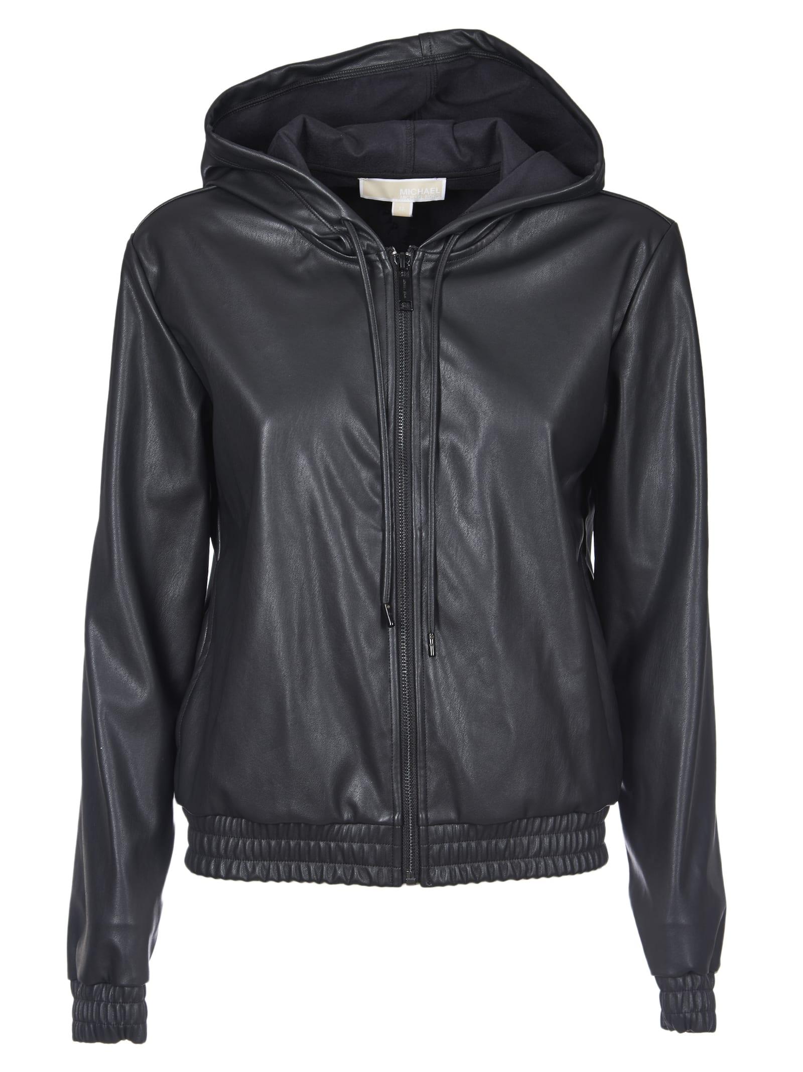 Michael Kors Eco-leather Hooded Jacket In Black