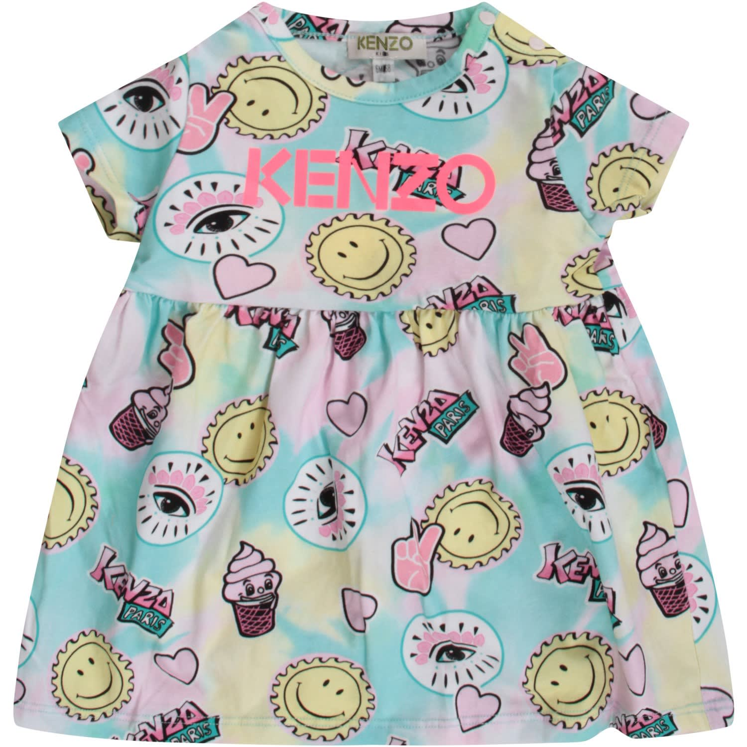 Buy Kenzo Multicolor Babygirl Dress With Neon Fuchsia Logo online, shop Kenzo with free shipping