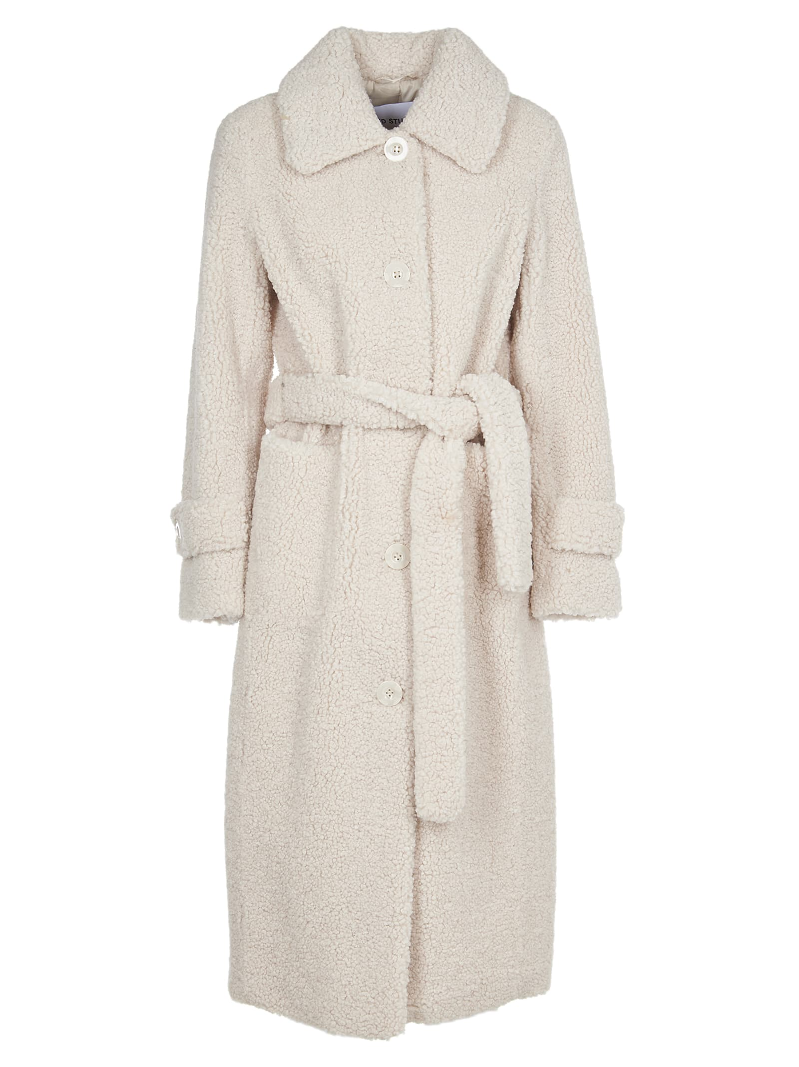 STAND STUDIO Lottie White Faux Fur Coat