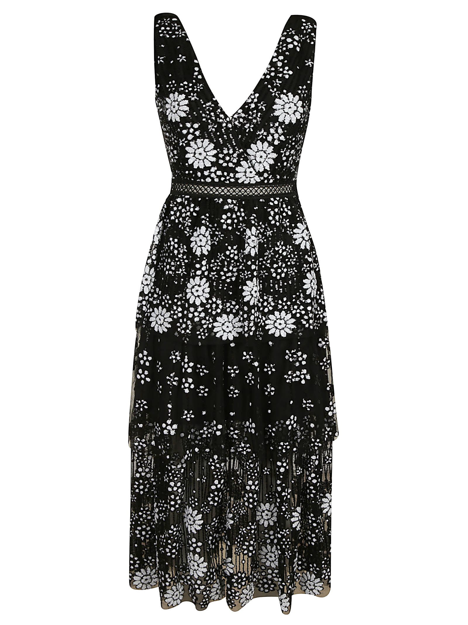 self-portrait Starlet Deco Sequin Tiered Midi Dress