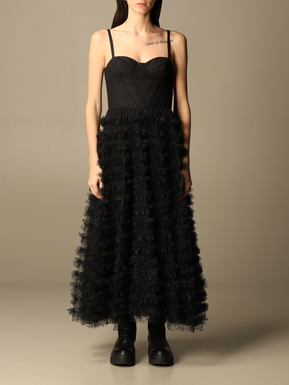Red Valentino Dress Red Valentino Long Dress In Tulle With Flounces