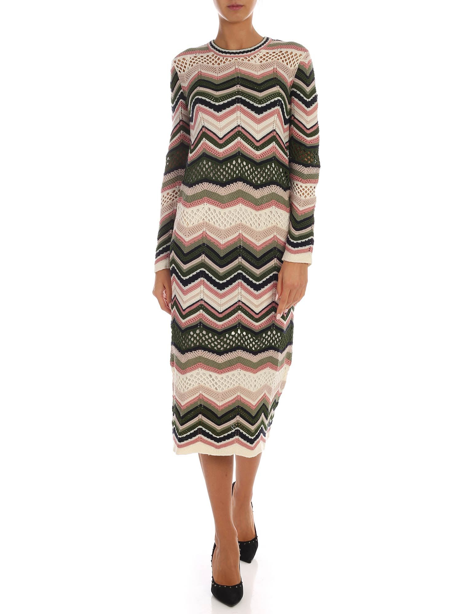 Buy M Missoni - Chevron Knitted Dress online, shop M Missoni with free shipping