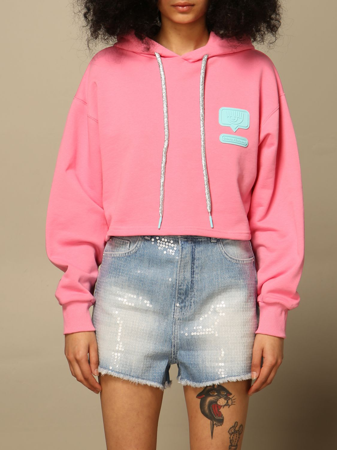 Chiara Ferragni Clothing HOODIE WITH RUBBER LOGO