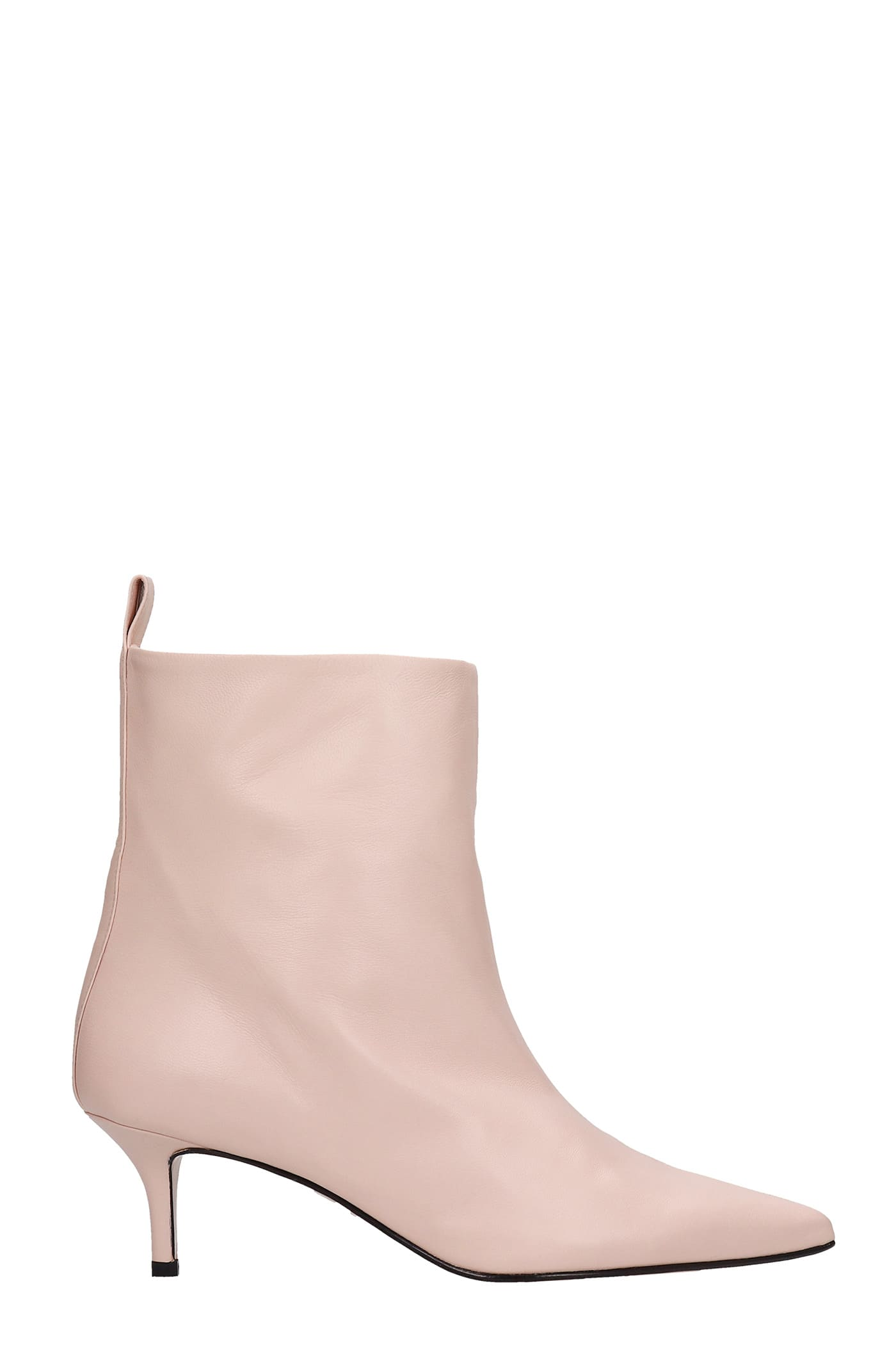 Bella Low Heels Ankle Boots In Rose-pink Leather