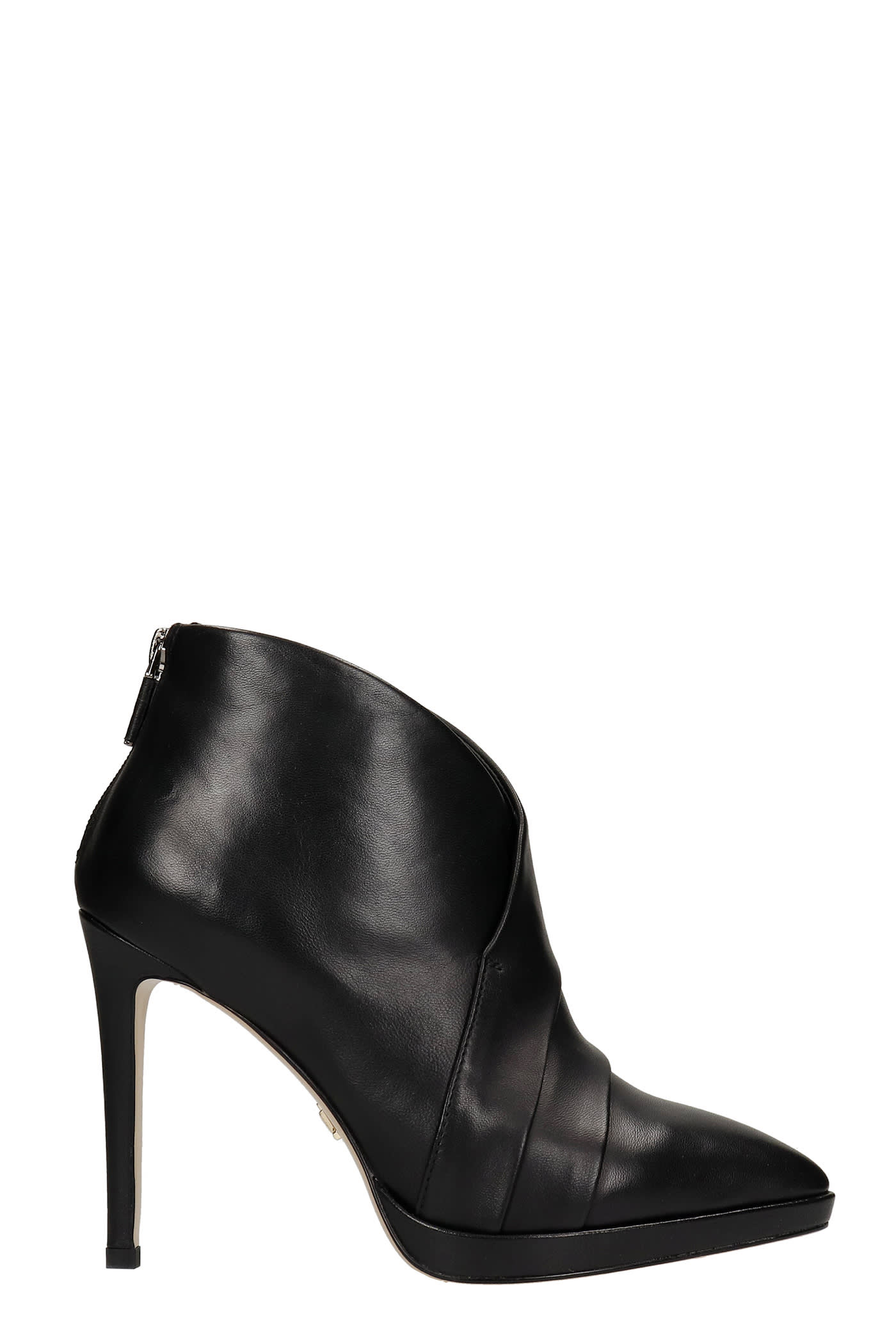 High Heels Ankle Boots In Black Leather