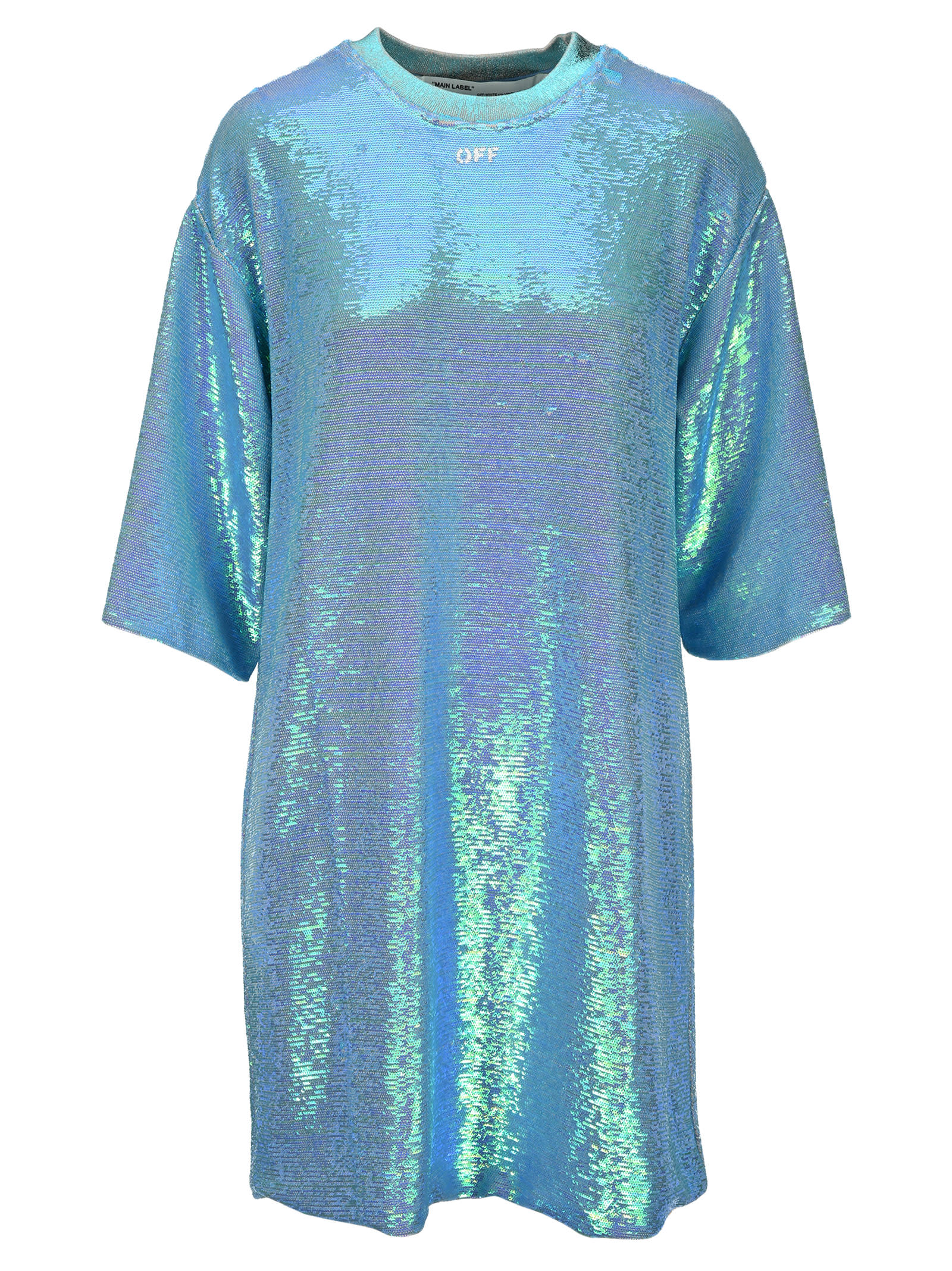 Buy Off White Sequined T-shirt Dress online, shop Off-White with free shipping