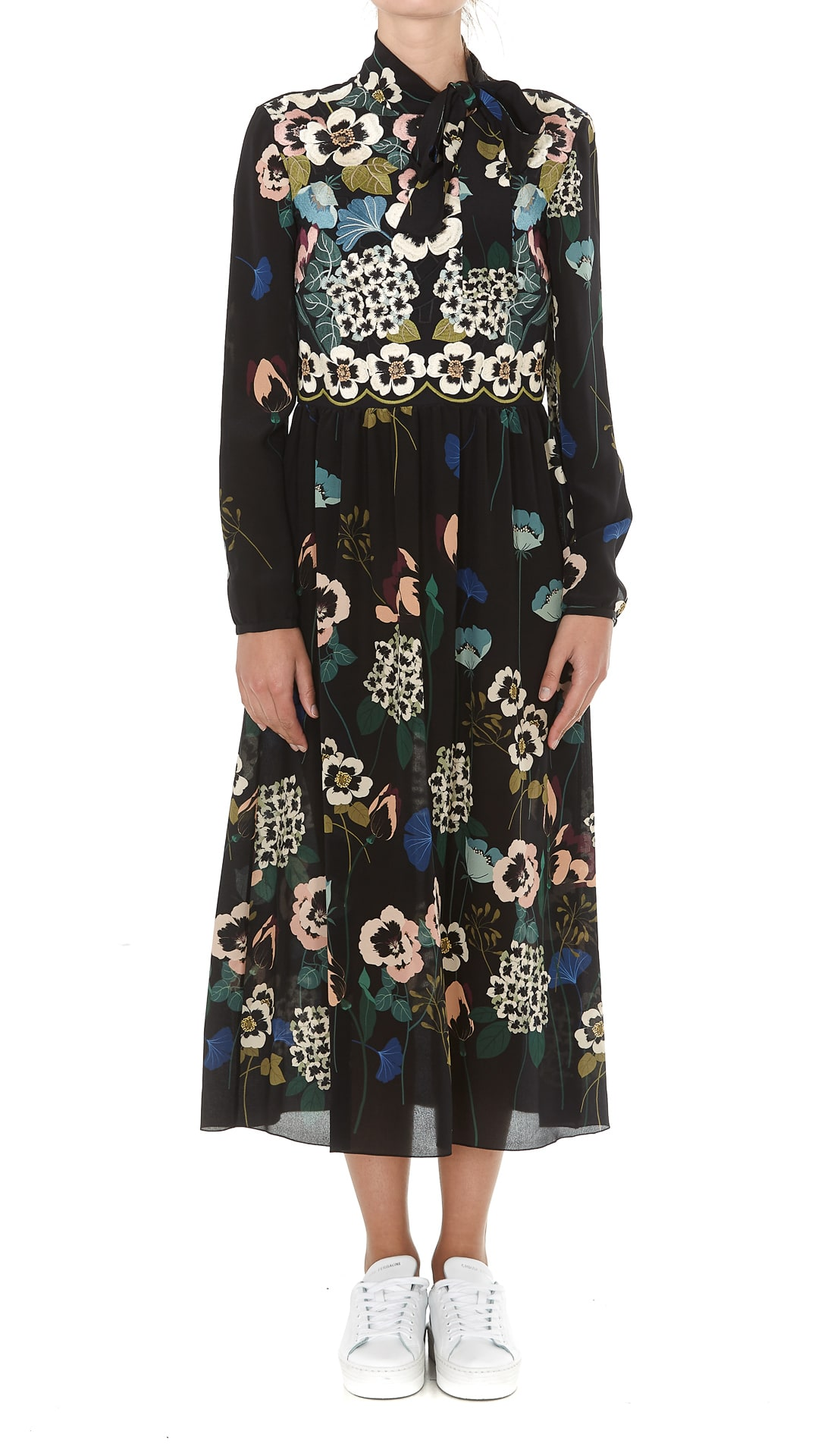 Red Valentino Midi Flower Print Dress
