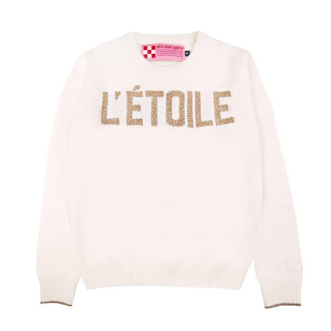 MC2 Saint Barth White Sweater For Girl étoile Lurex Embroidery
