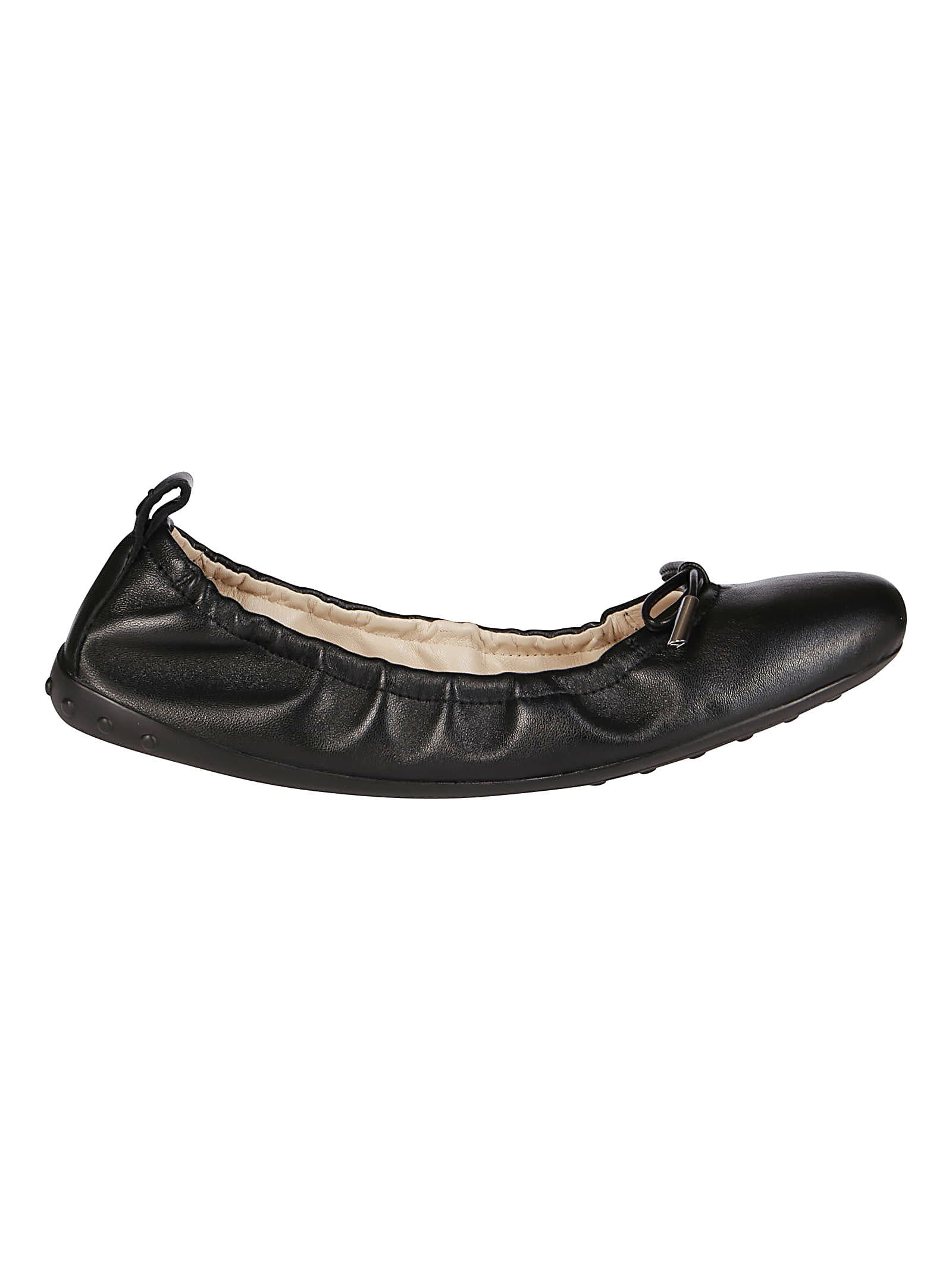 Tods Black Leather Ballerinas