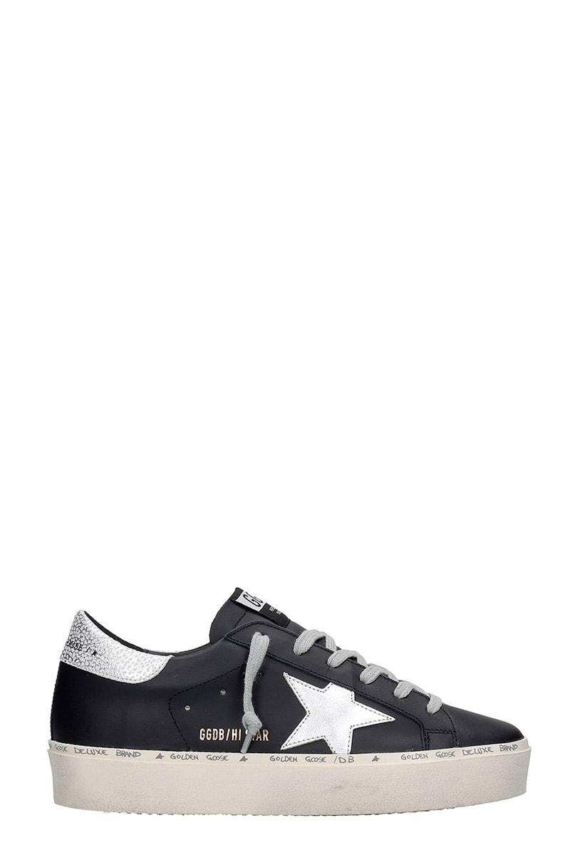 Golden Goose Hi Star Sneakers In Black Leather