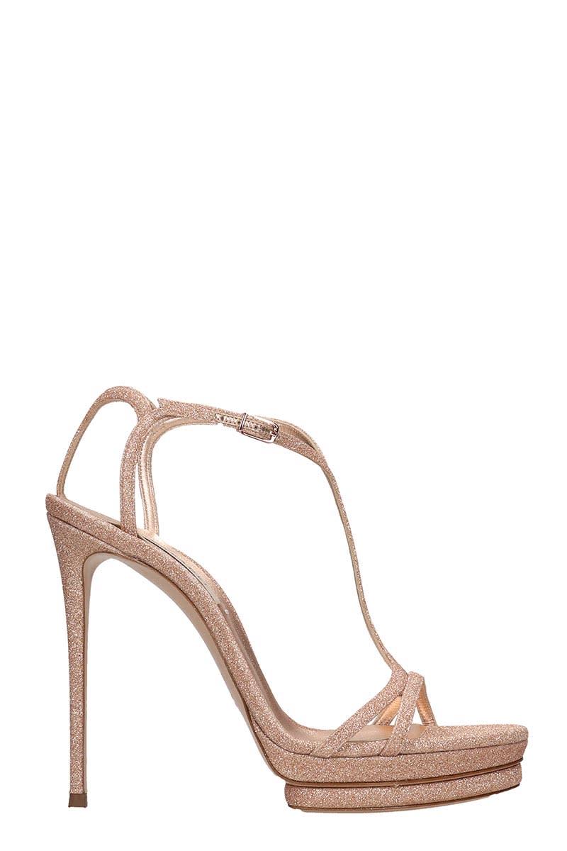 Casadei Sandals In Rose-pink Glitter