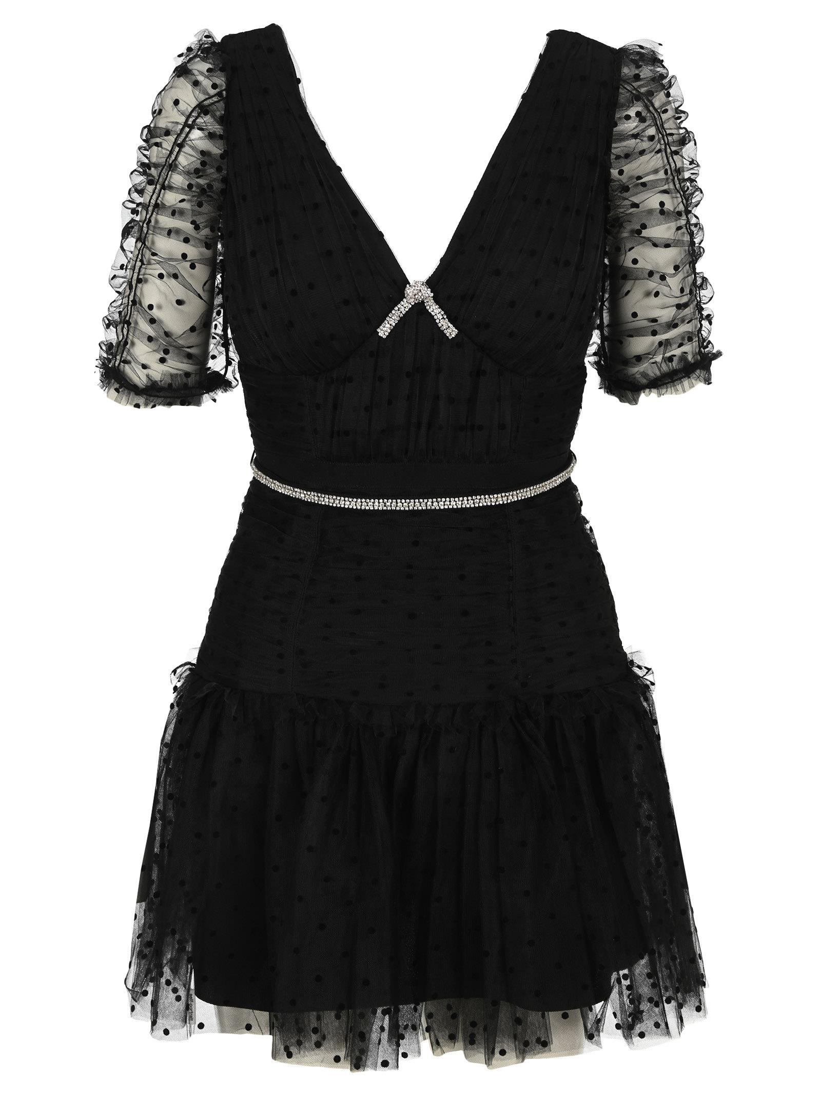 Self-Portrait Clothing SELF PORTRAIT BLACK DOT MESH MINI DRESS