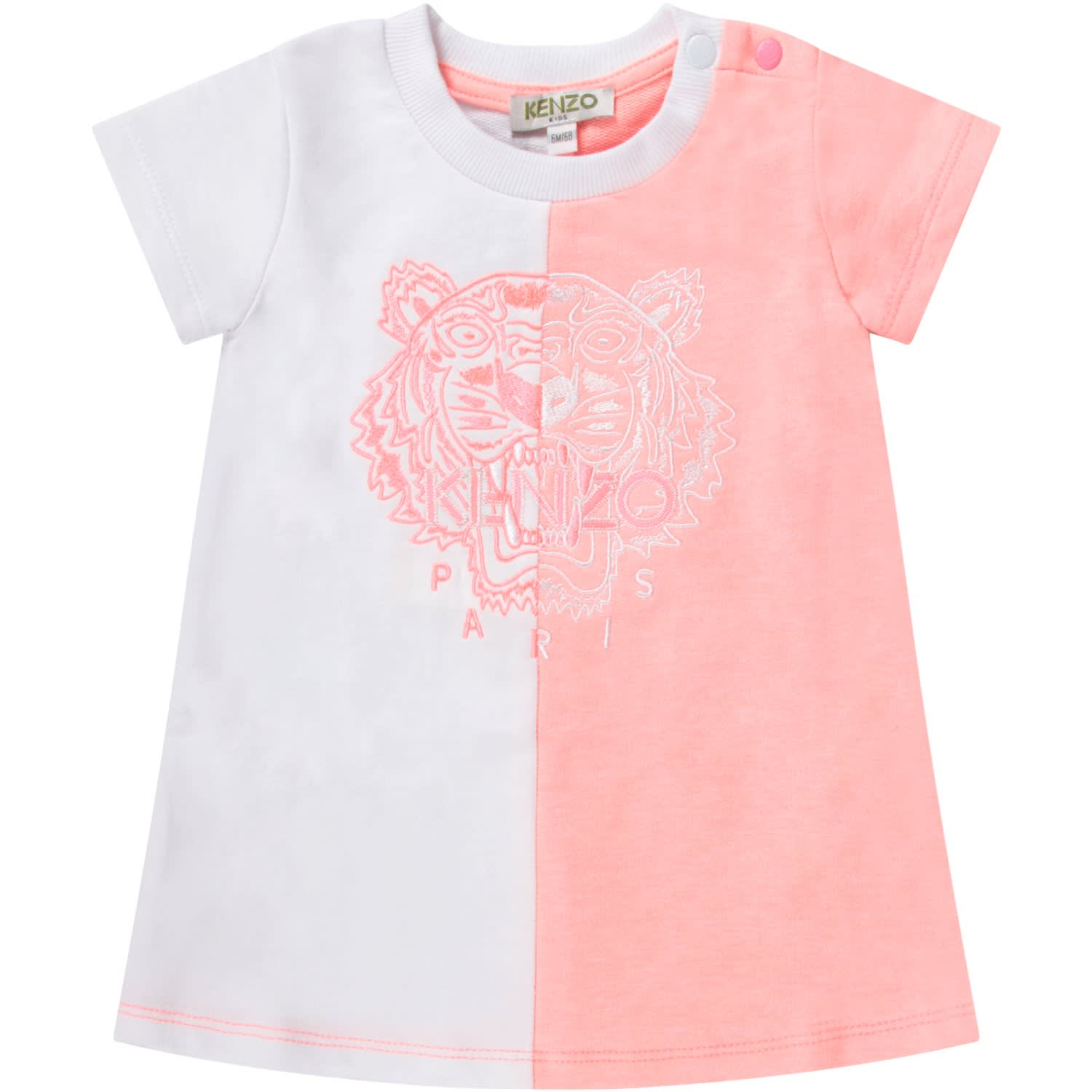 Buy Kenzo White And Pink Babygirl Dress With Iconic Tiger online, shop Kenzo with free shipping