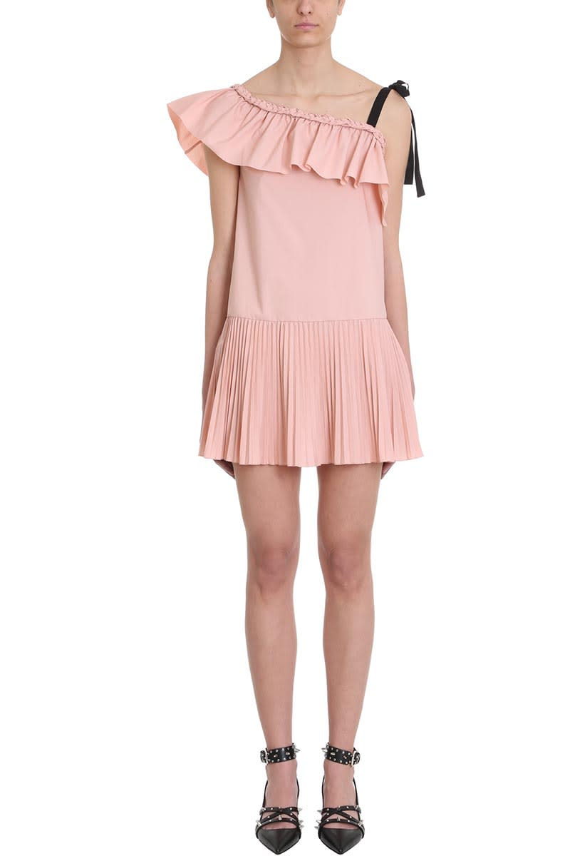 RED Valentino One-shoulder Pink Cotton Poplin Dress