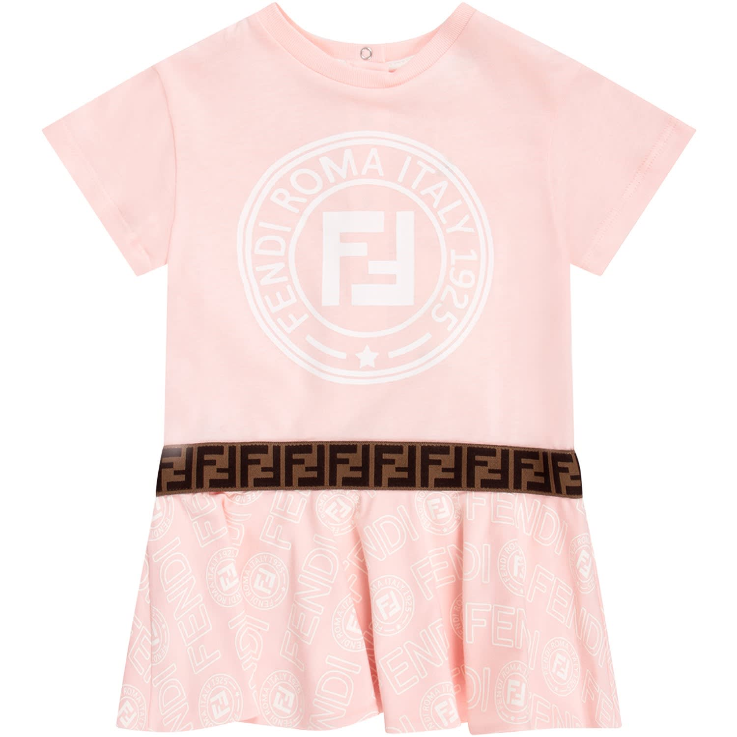 Fendi Pink Babygirl Dress With White Iconic Logo