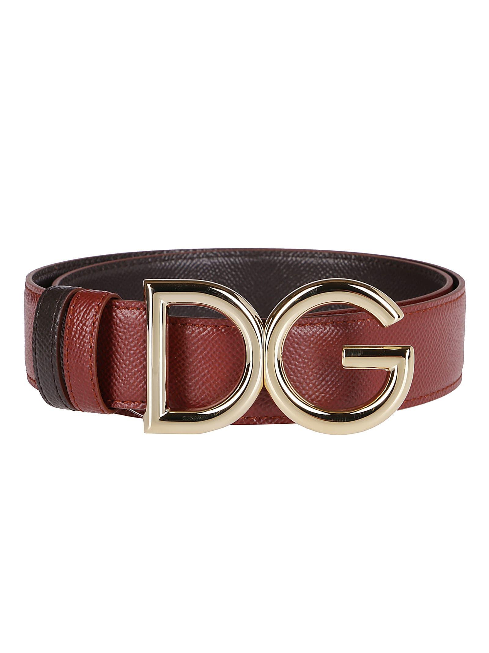 Dolce & Gabbana Belts COGNAC BROWN LEATHER BELT
