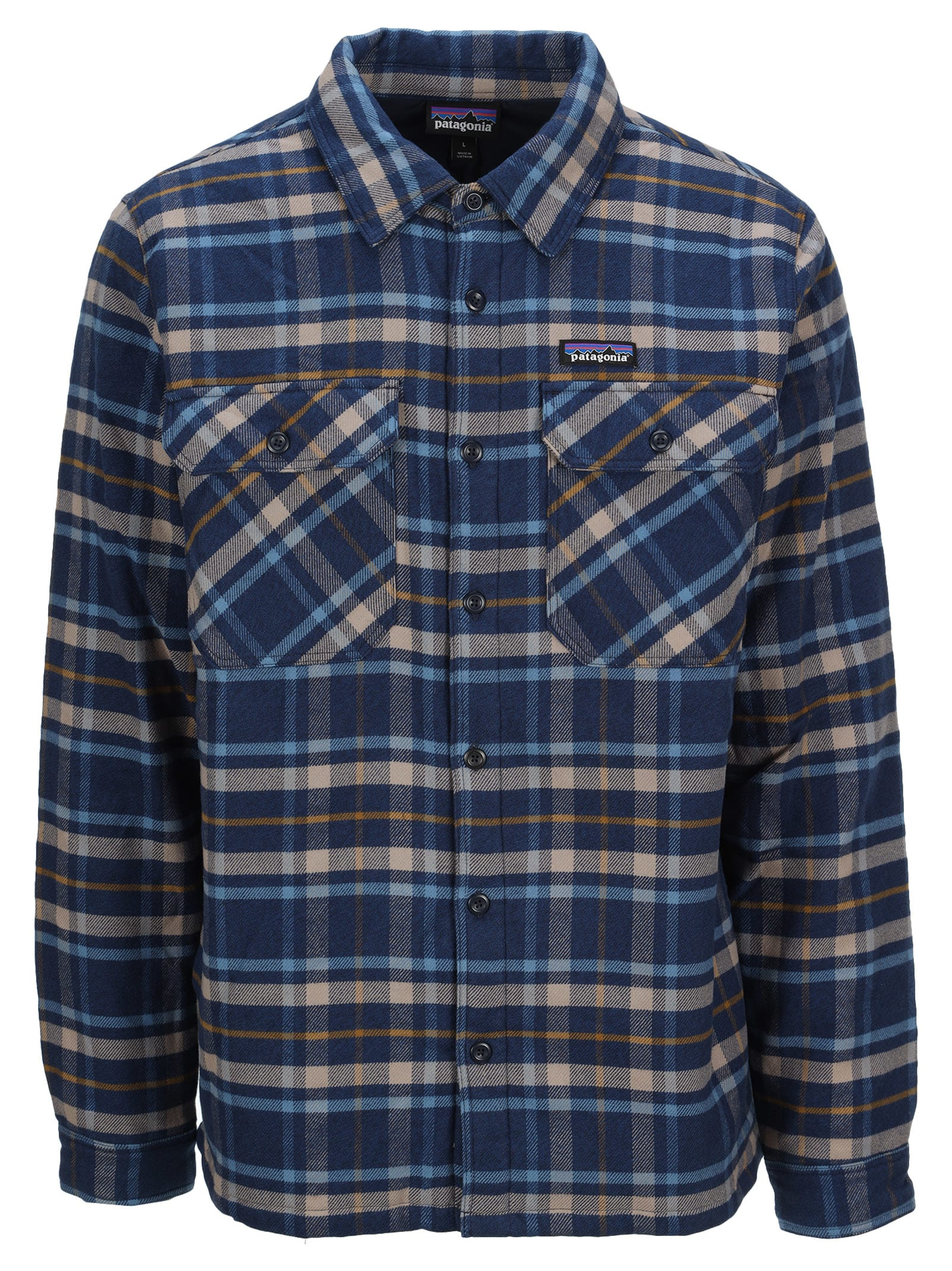 Cotton Check Shirt Jacket By Patagonia. Featuring: - Classic Collar; - Front Buttons Fastening; - Logo Patch At The Chest; - Chest Buttoned Flap Pockets; - Long Sleeves; - Button Cuffs; - Straight Hem. Composition: 100% ORGANIC COTTON - LINING:, 100% POLYESTER