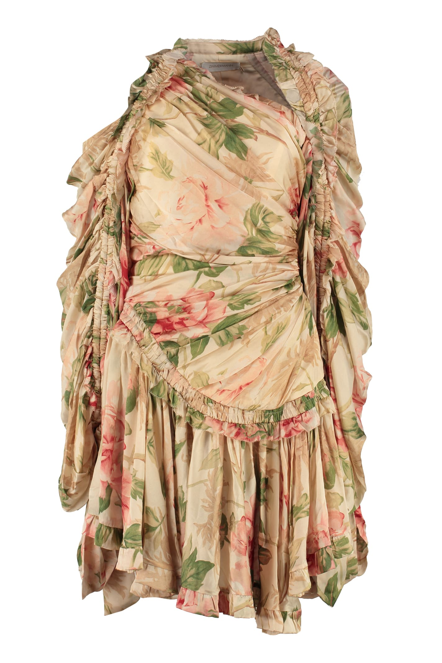 Buy Zimmermann Espionage Printed Dress With Wrinkles online, shop Zimmermann with free shipping