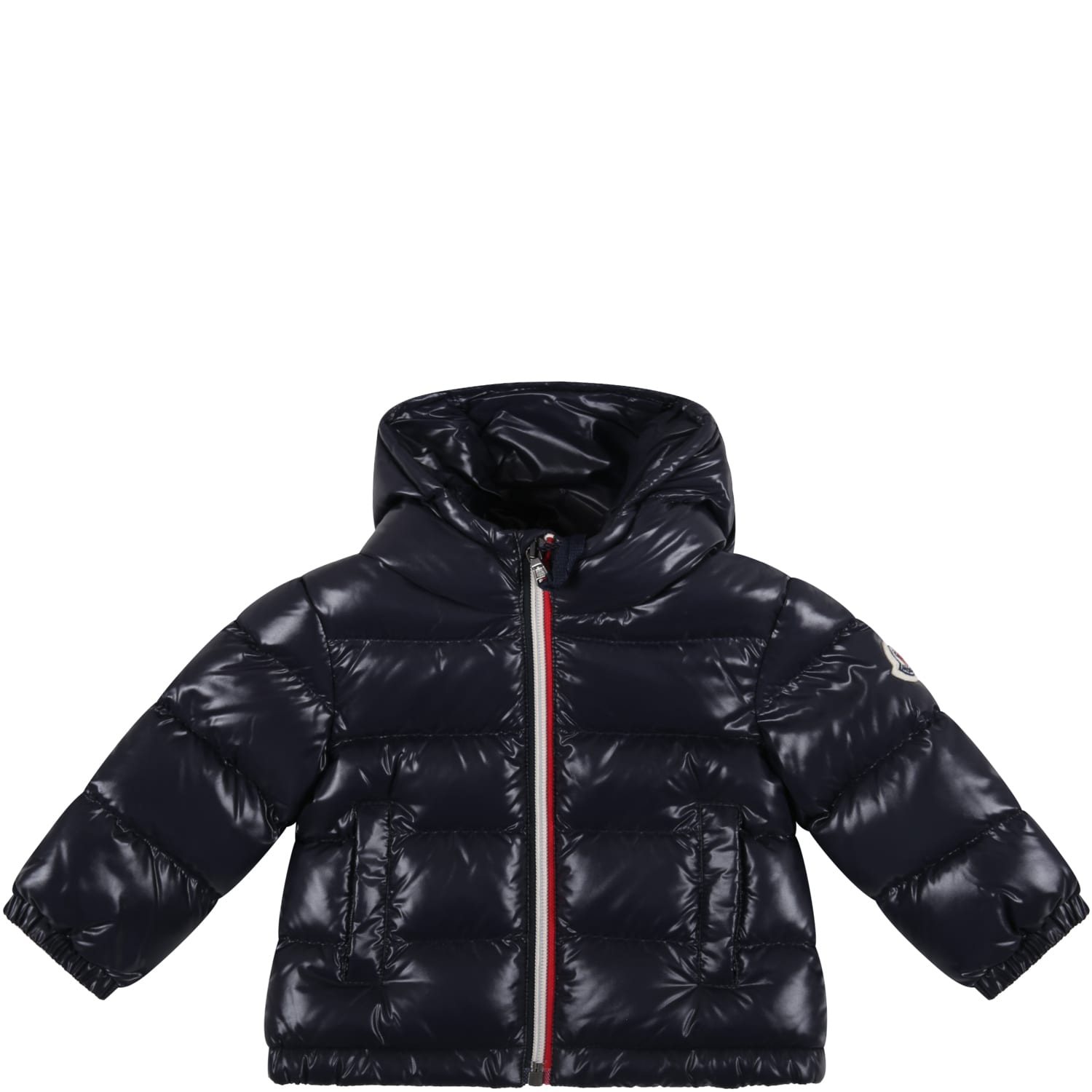 Moncler Blue new Aubert Jacket For Baby Boy With Iconic Patch