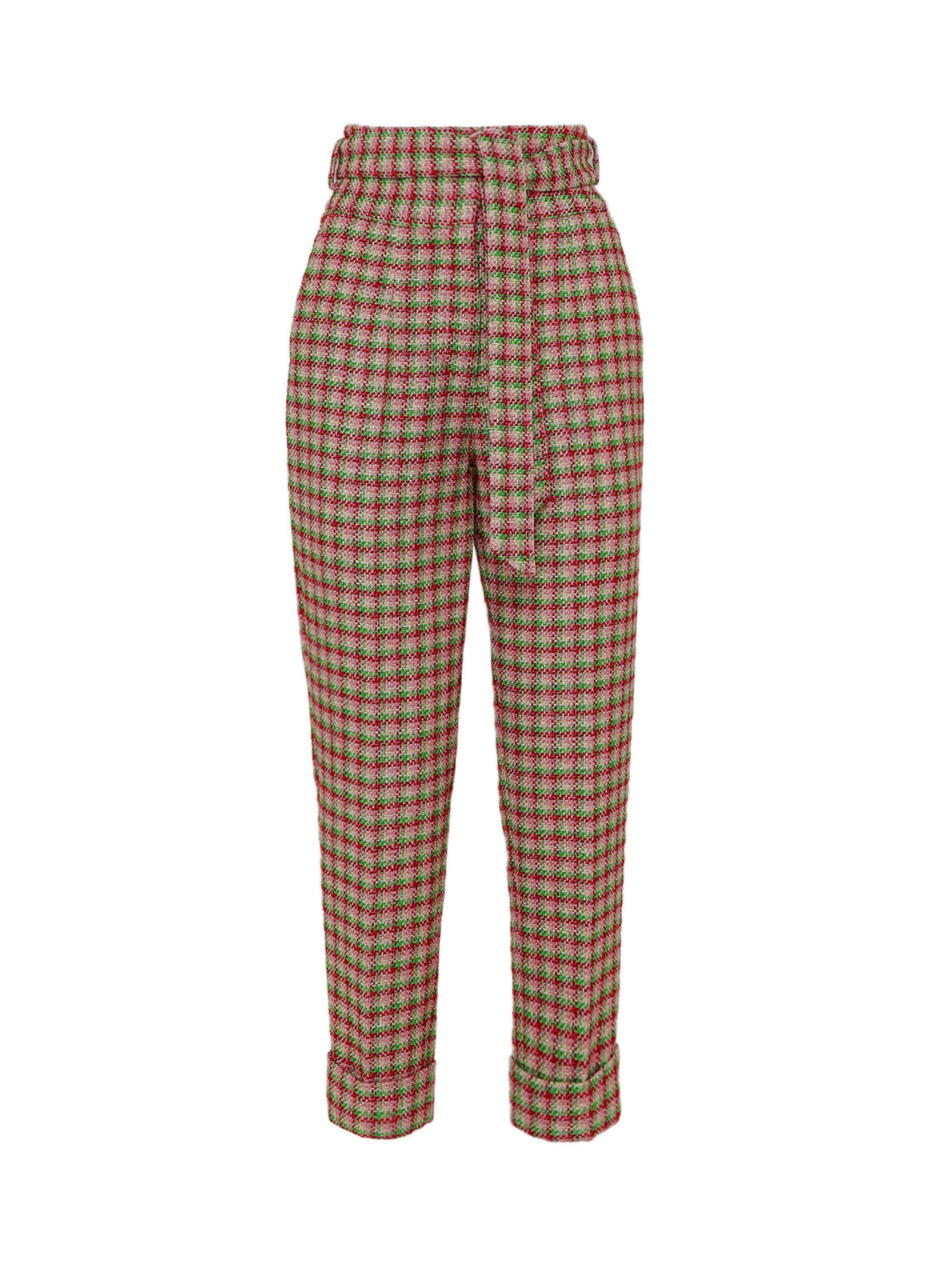 High-waisted Belted Tweed Pants