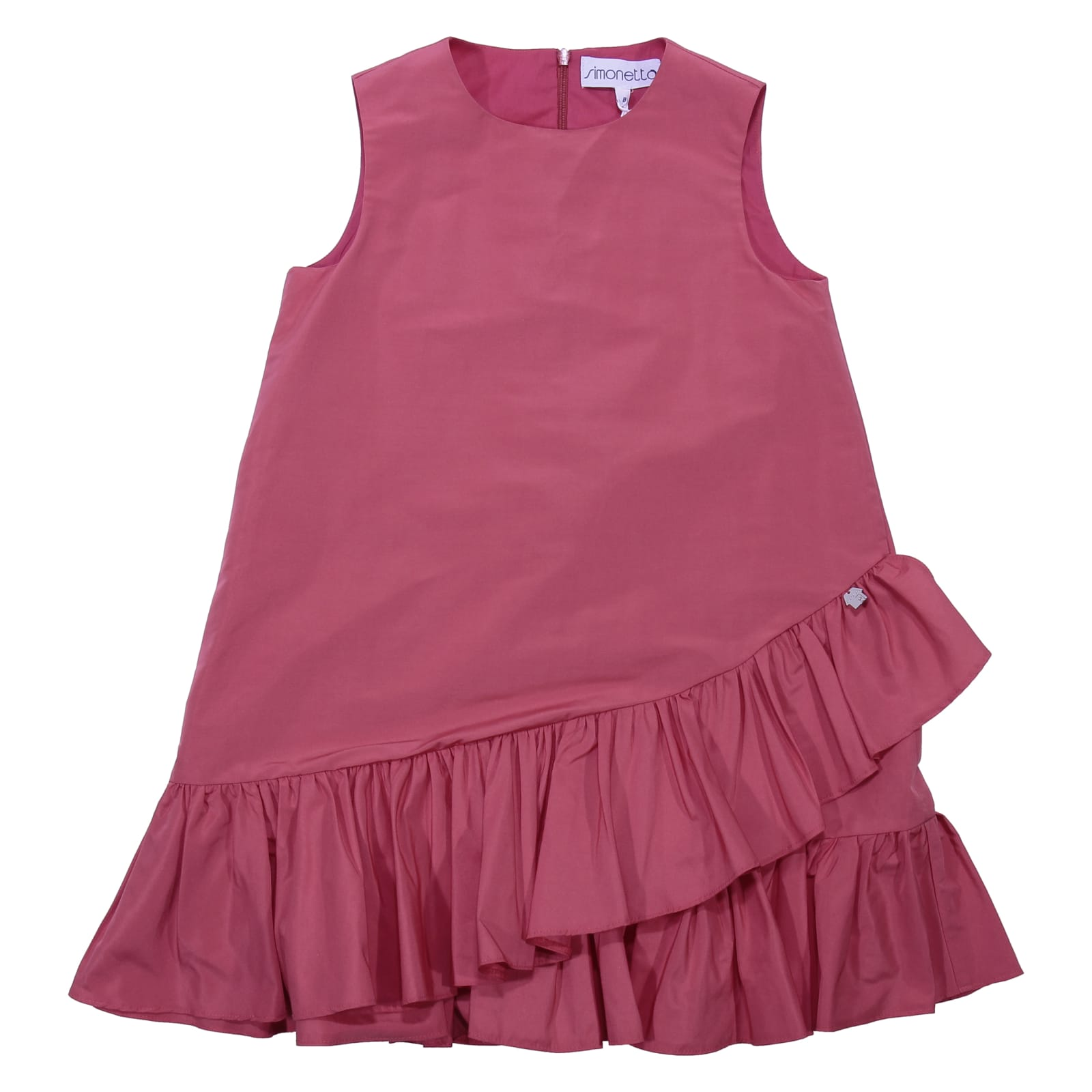 Simonetta Coral Red Ruffled Dress