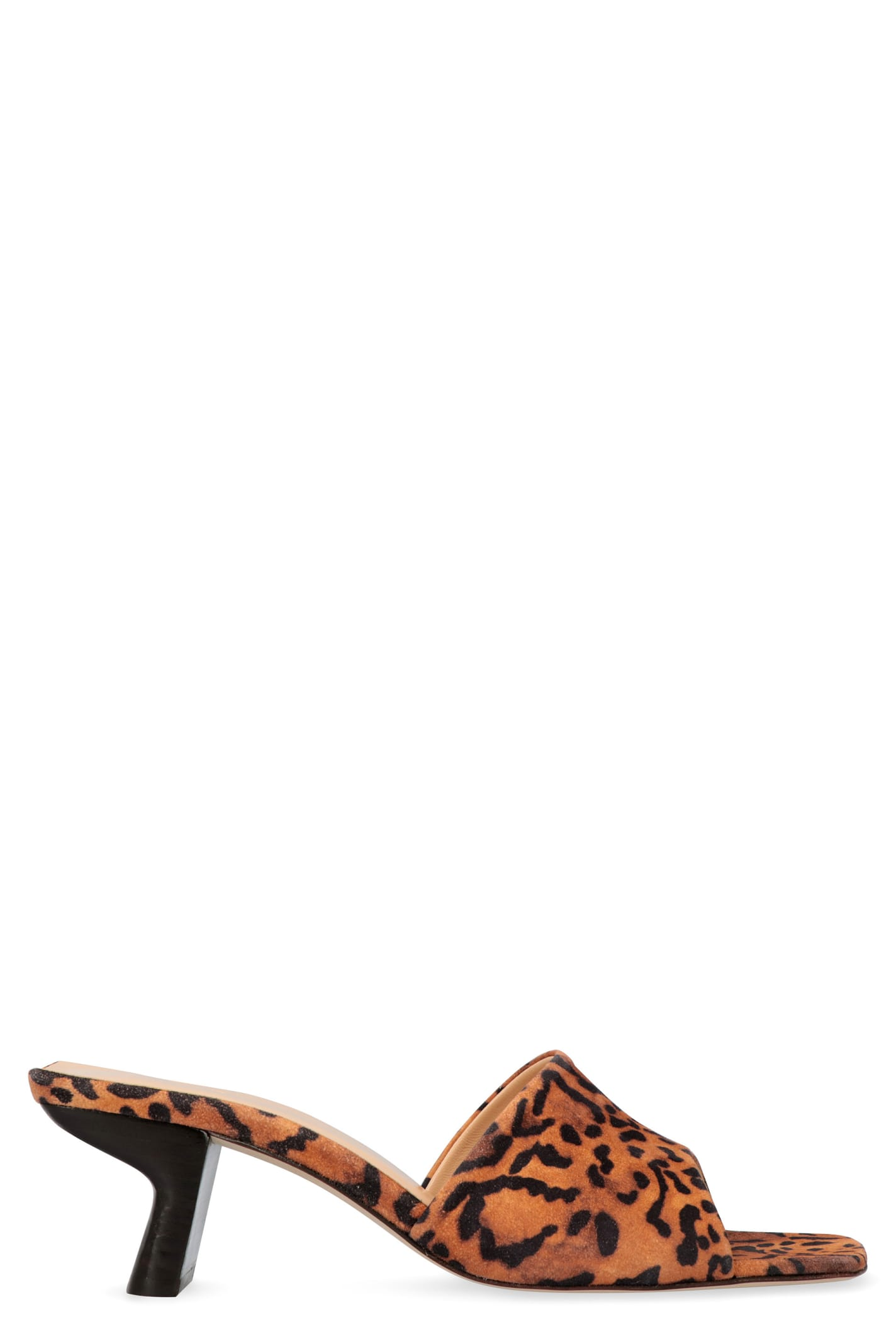 BY FAR Lily Printed Suede Mules