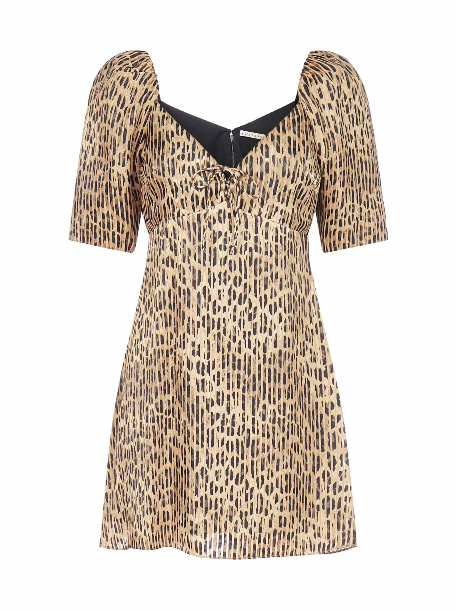 Alice + Olivia Dana Leopard Print Viscose-blend Mini Dress