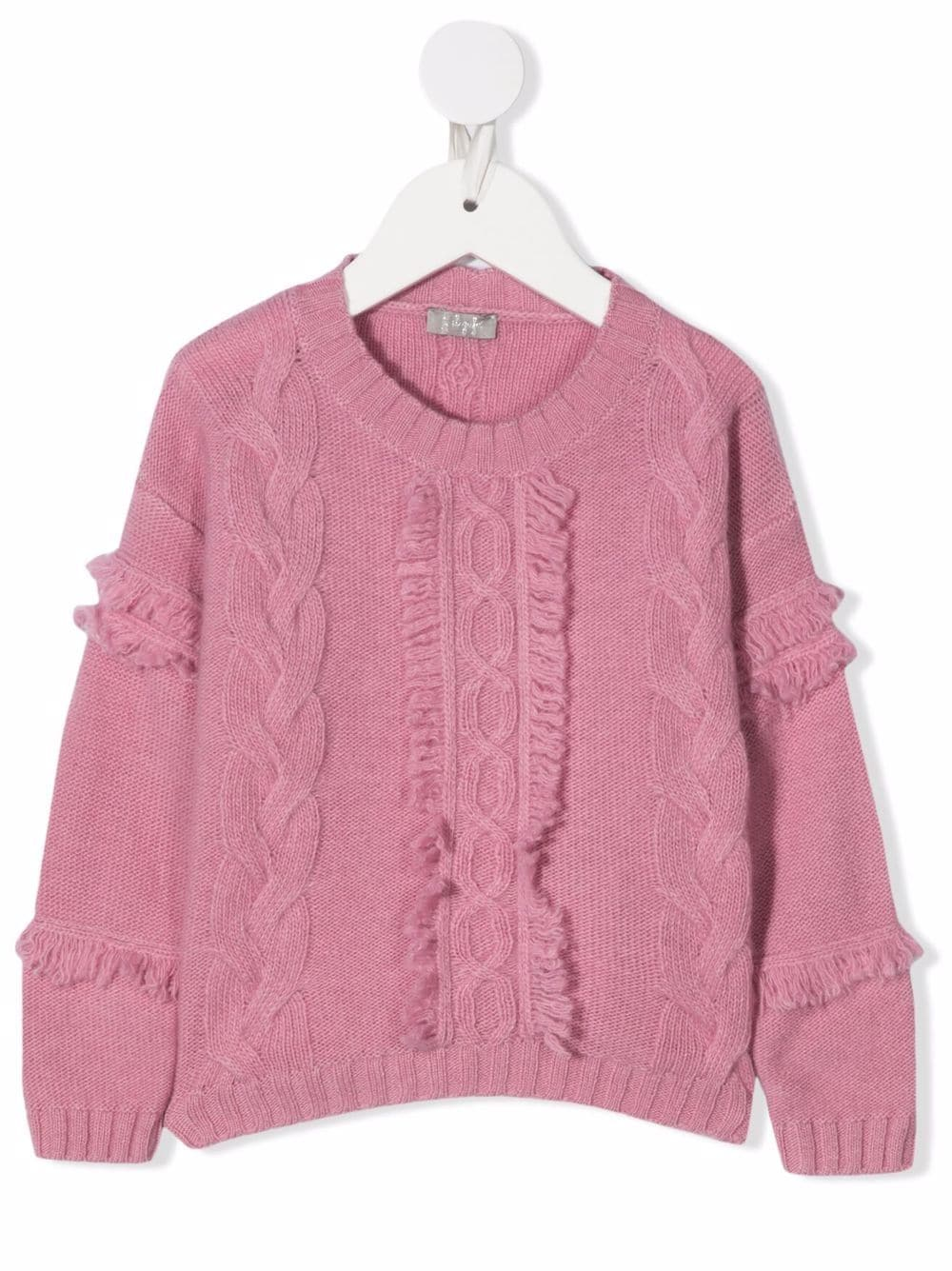 Kids Pink Sweater With Braids And Fringes