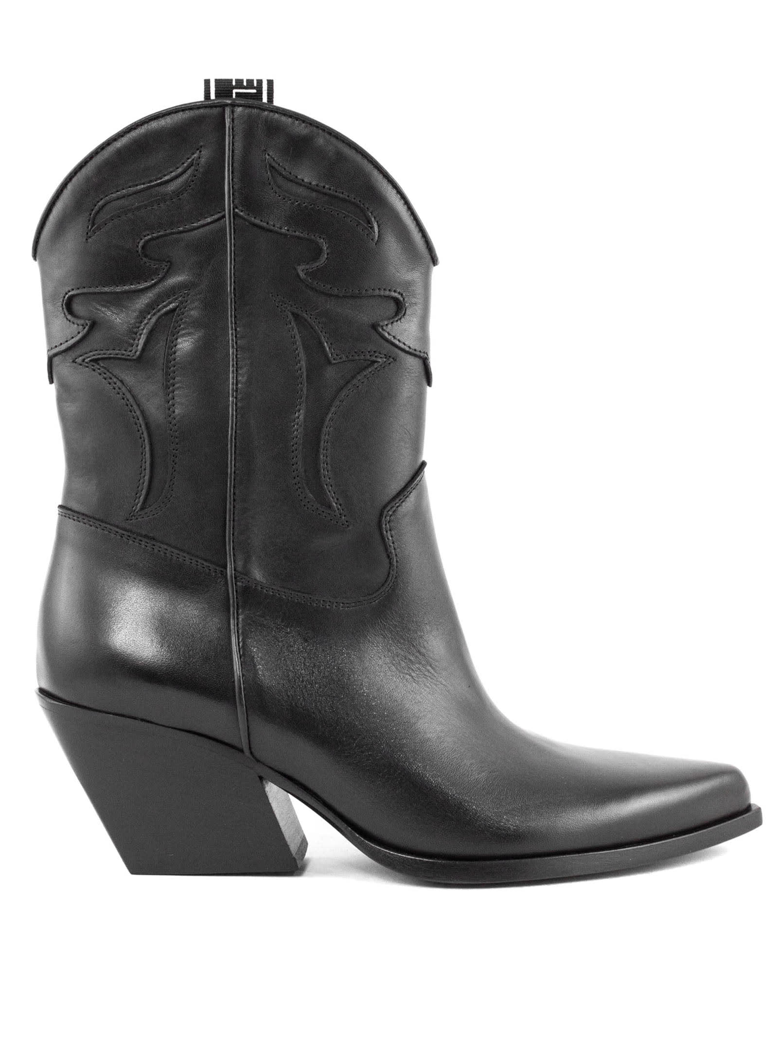Texan Ankle Boot In Black Leather