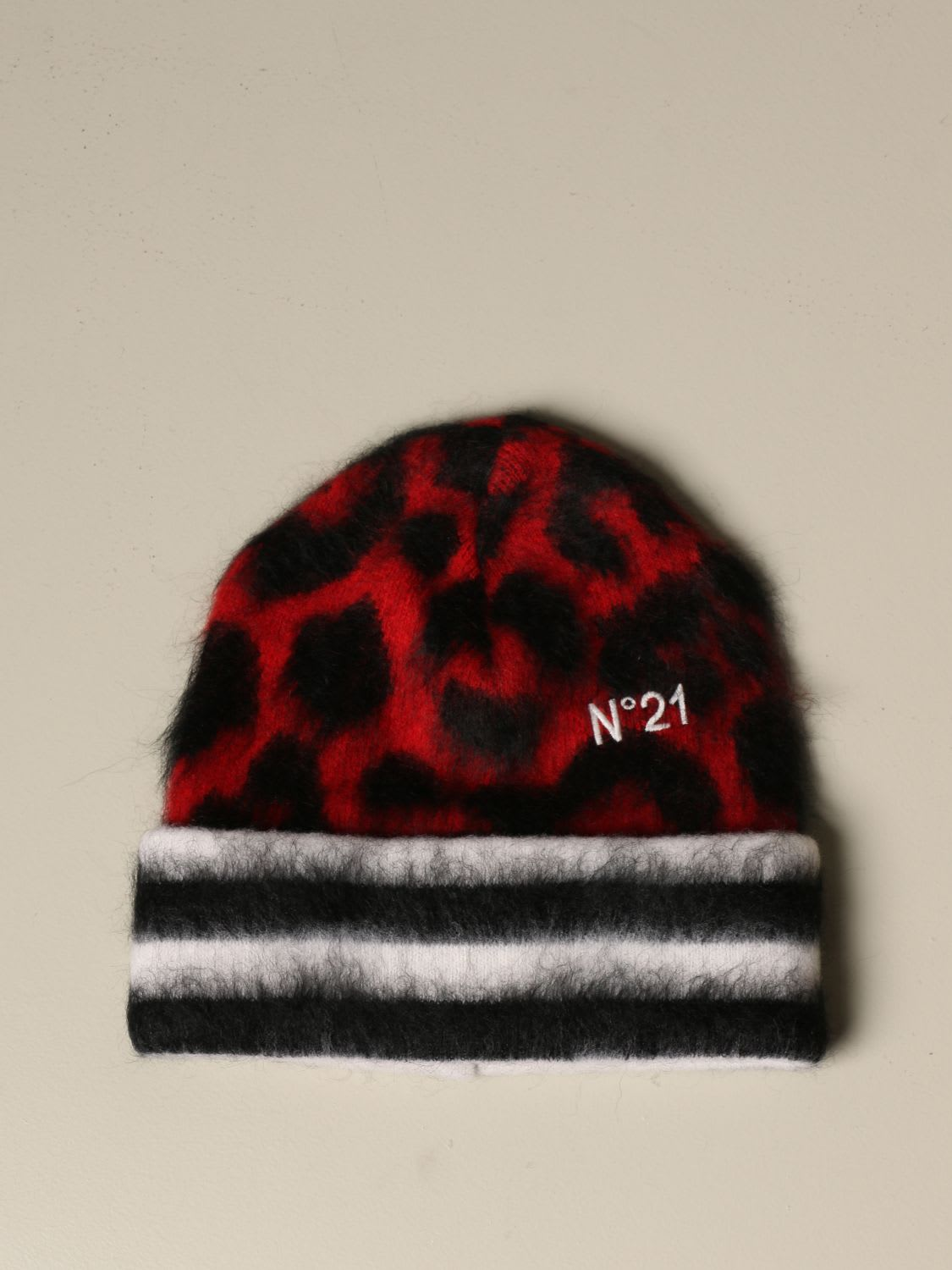 N°21 N° 21 HAT HAT N°21 ANIMALIER WOOL AND MOHAIR
