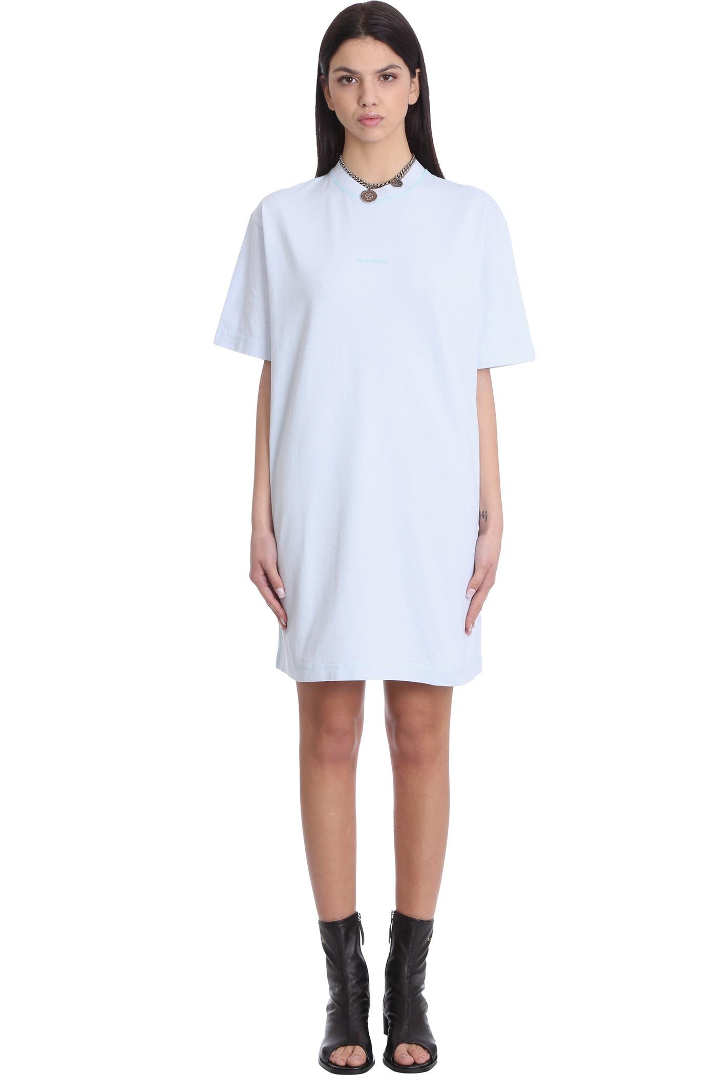 Acne Studios Erin Stamp Dress In Cyan Cotton