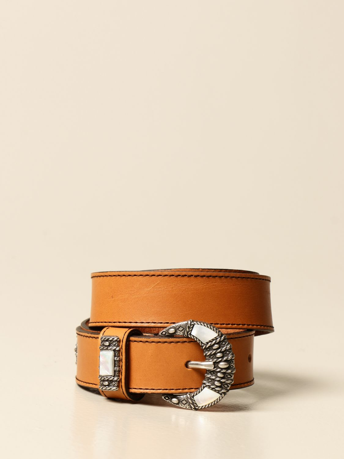 Etro LEATHER BELT WITH HALF MOON BUCKLE