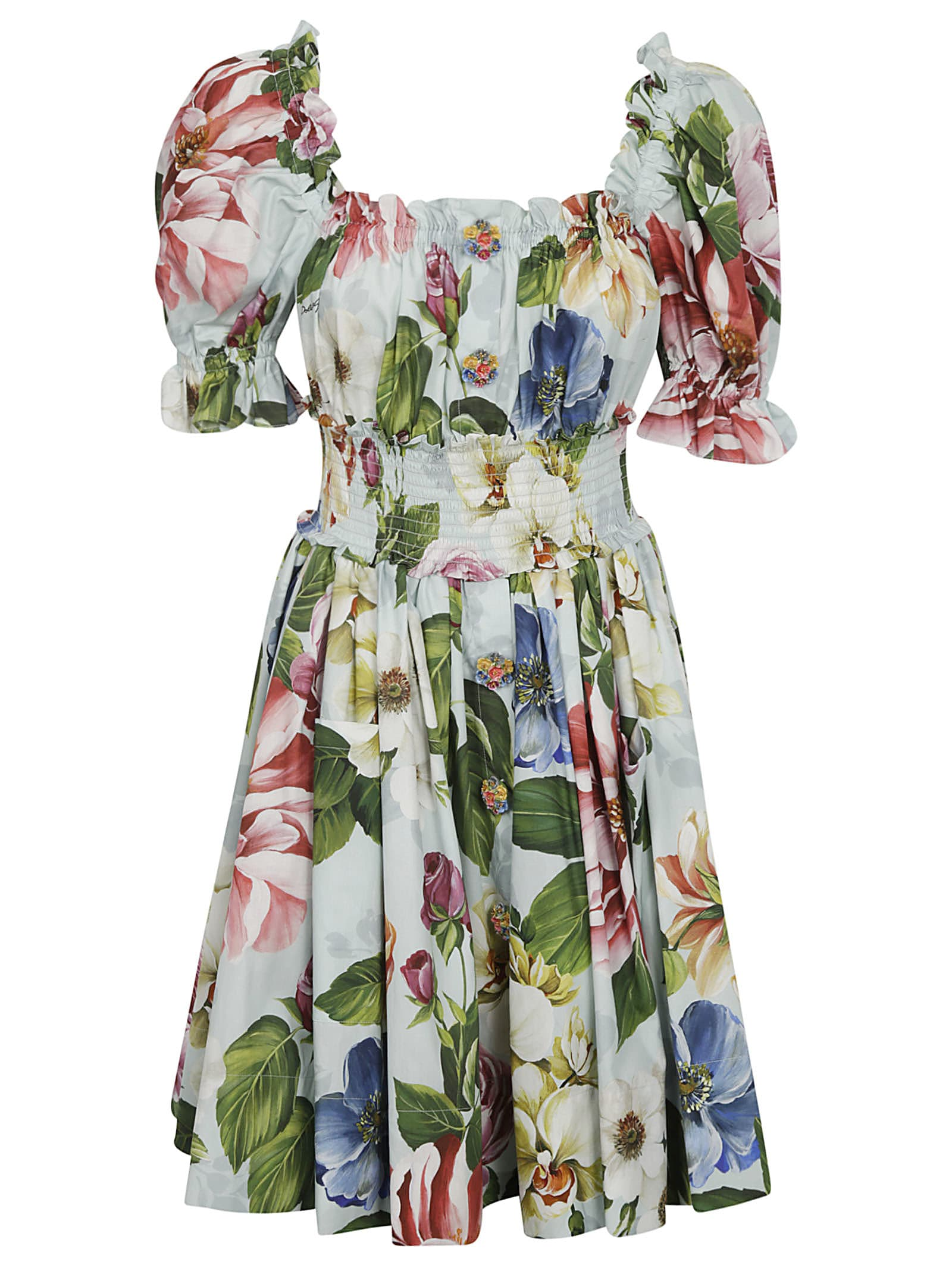 Buy Dolce & Gabbana Rose Print Pleated Dress online, shop Dolce & Gabbana with free shipping
