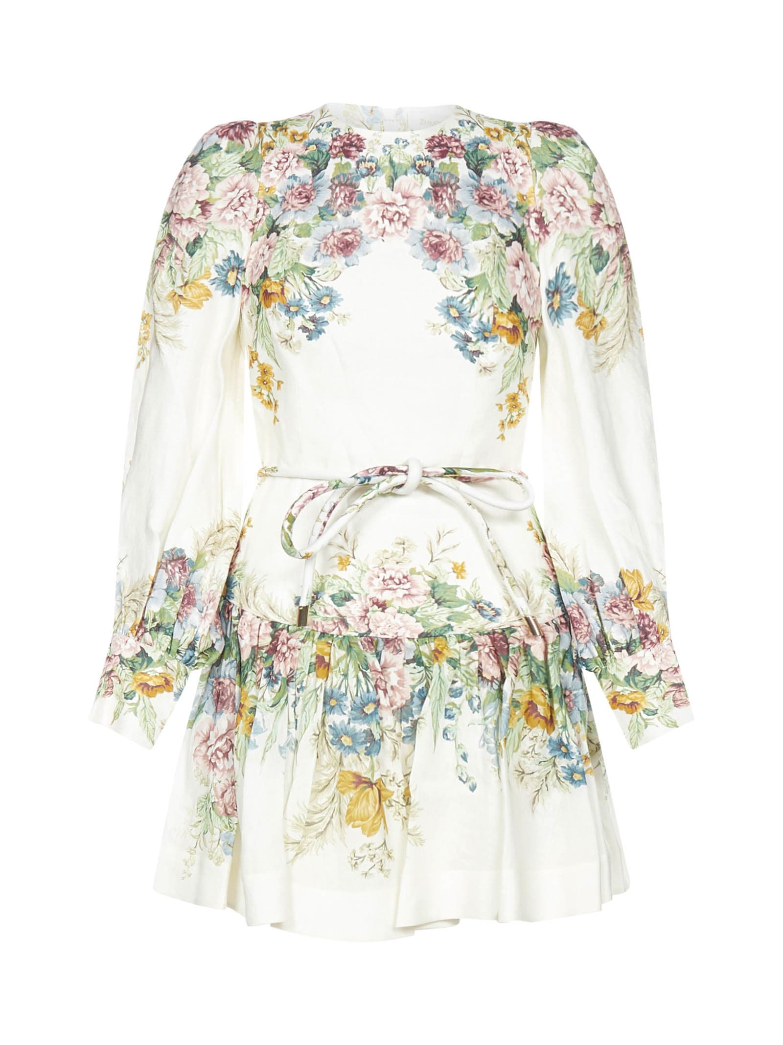 Buy Zimmermann Wavelenght Bell Sleeve Mini Dress online, shop Zimmermann with free shipping