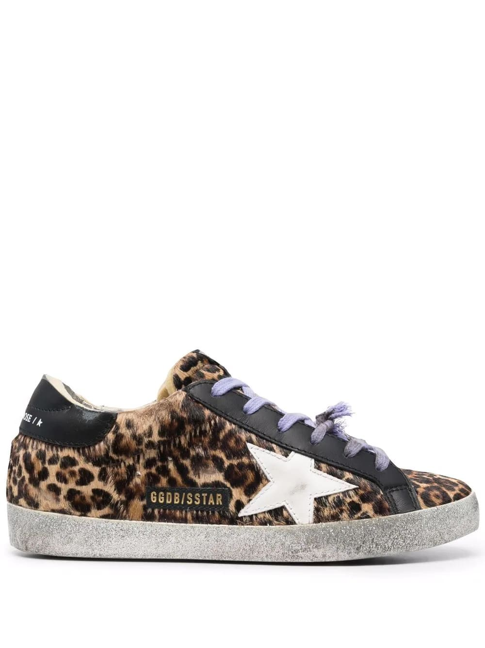 Golden Goose Woman Super-star Sneakers In Leopard Calf Hair With Lilac Laces