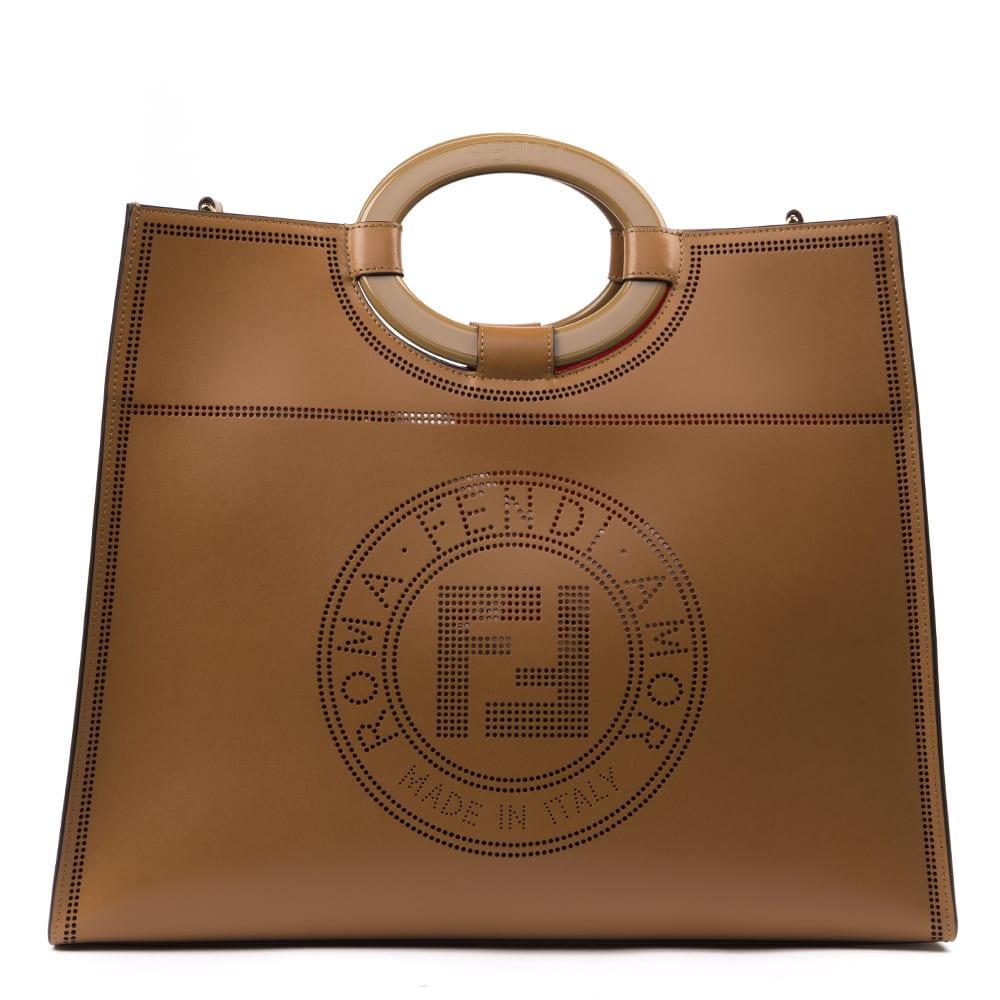 635ad72d Fendi Brown Run Away Leather Shopper Bag